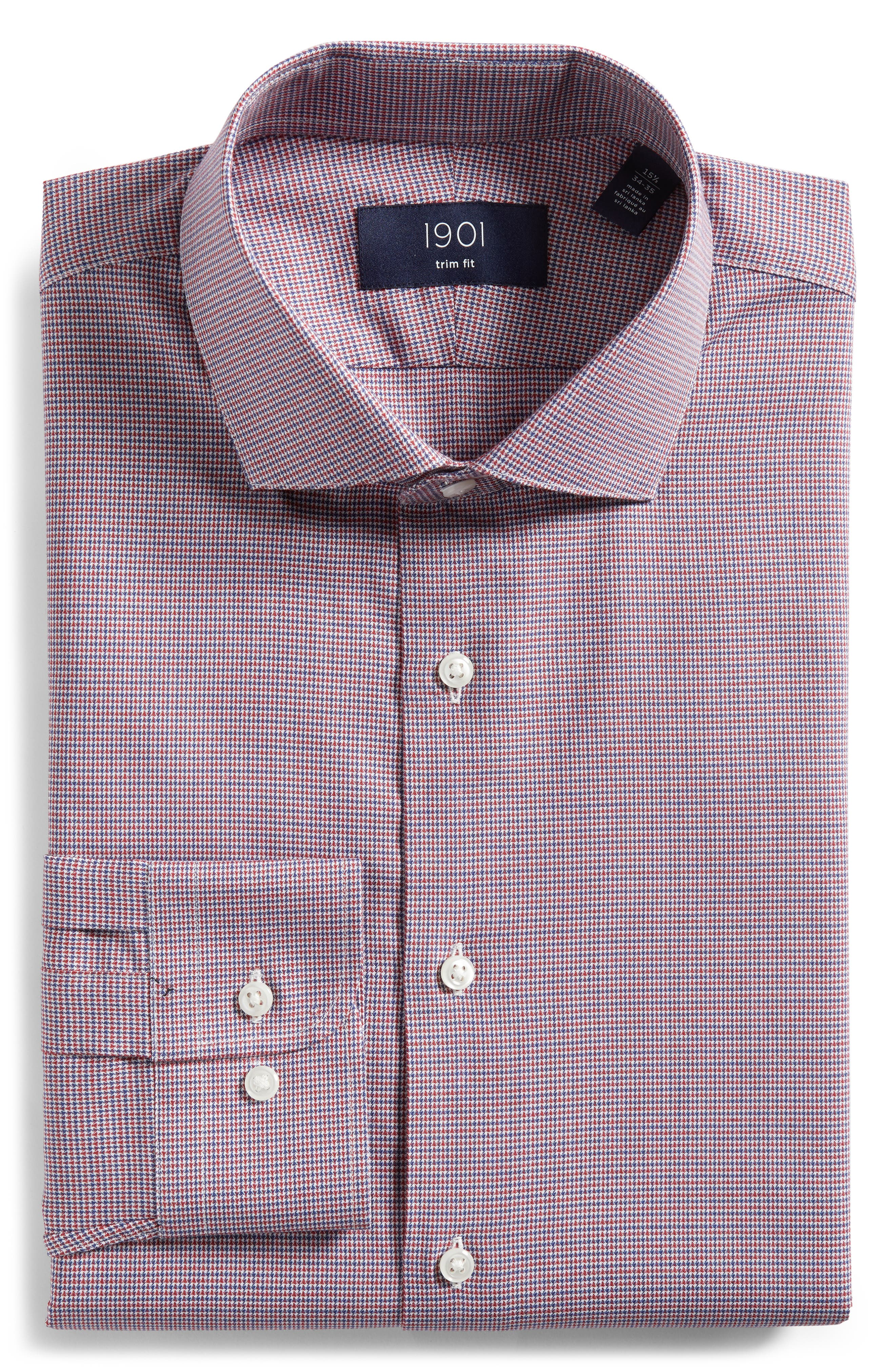 Trim Fit Check Dress Shirt,                             Alternate thumbnail 5, color,                             RED RUBY