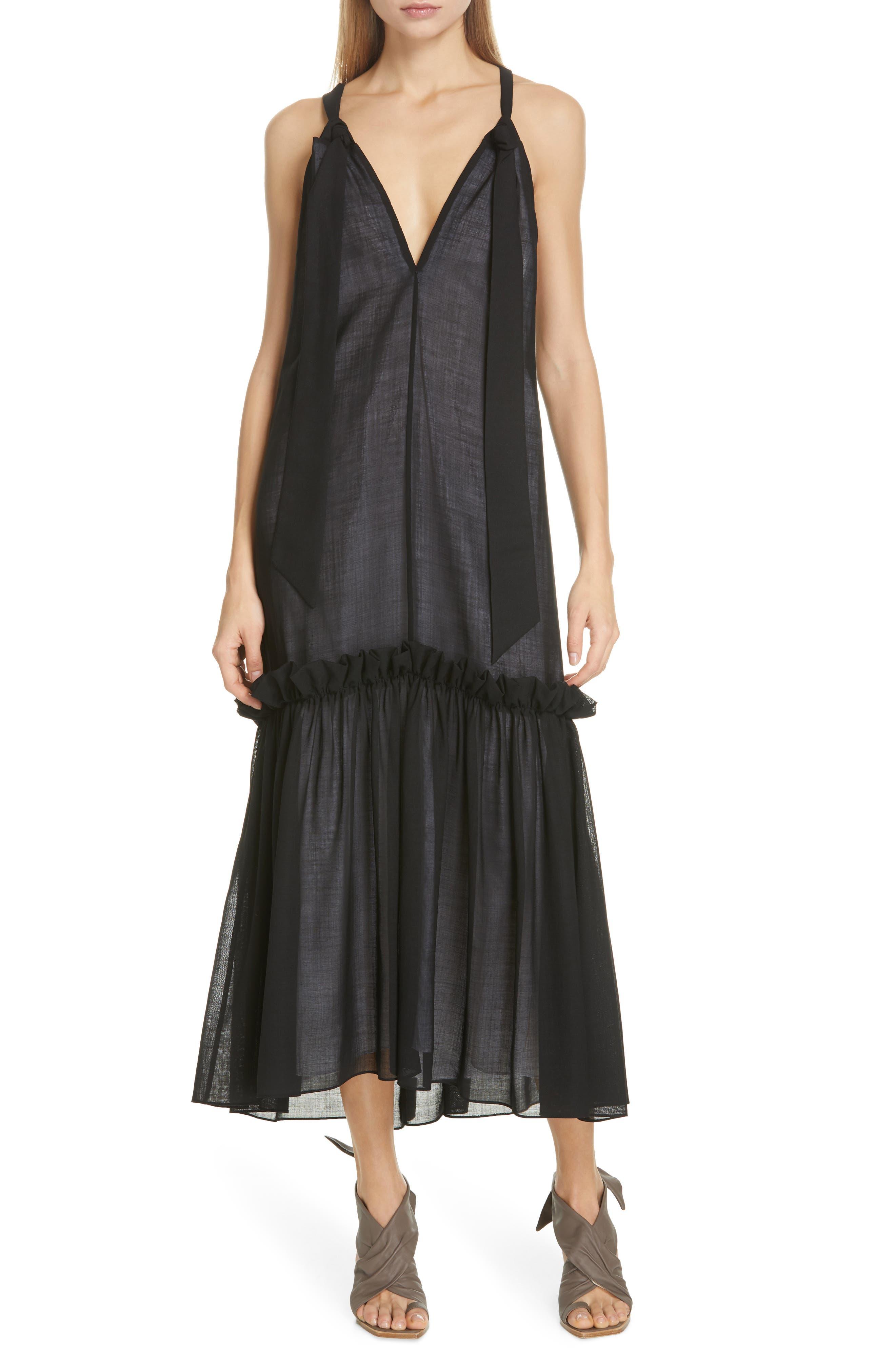 Tibi Reversible Tie Neck Dress, Black
