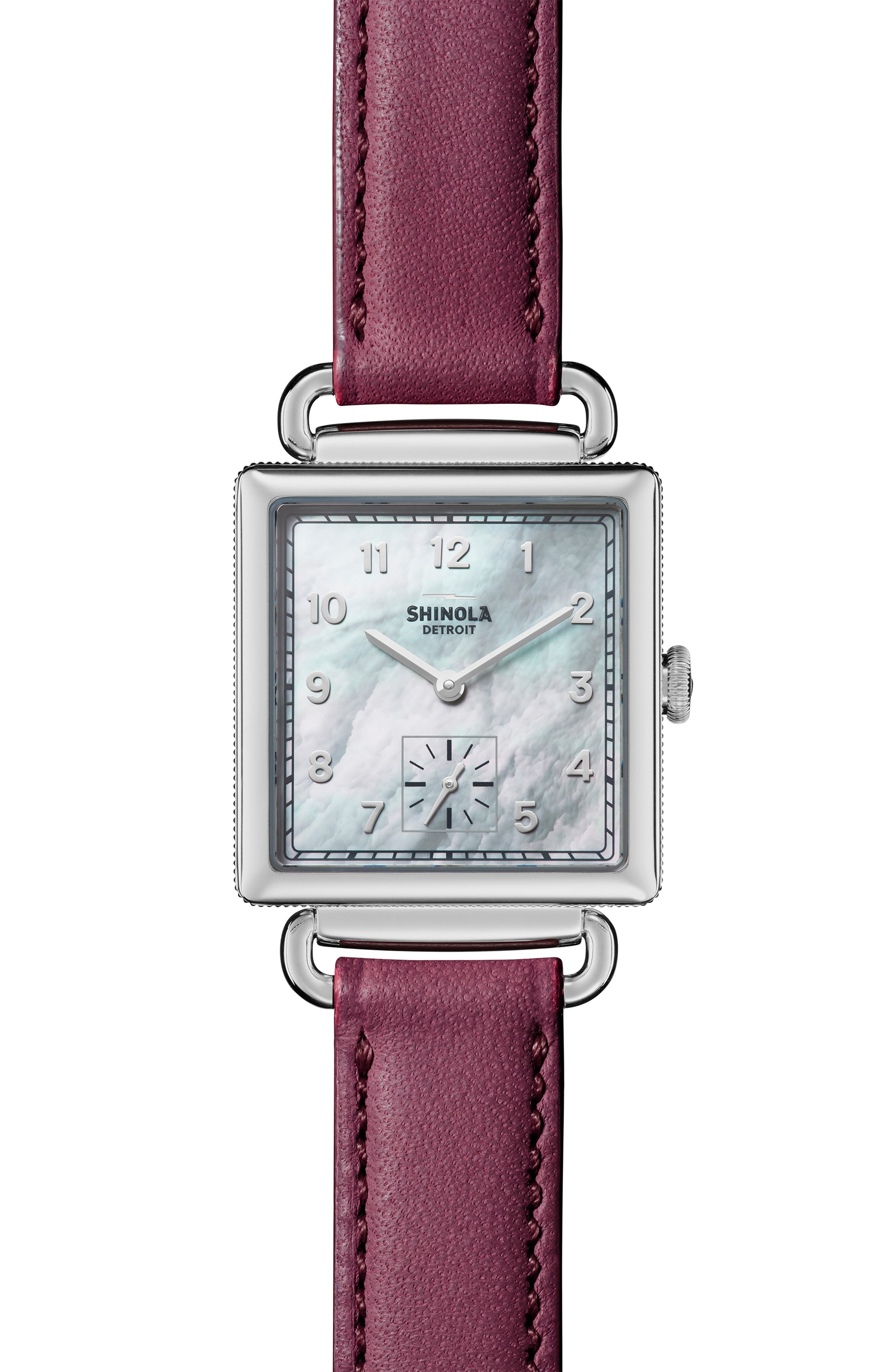 Cass Leather Strap Watch, 28mm,                         Main,                         color, BERRY/ WHITE MOP/ SILVER