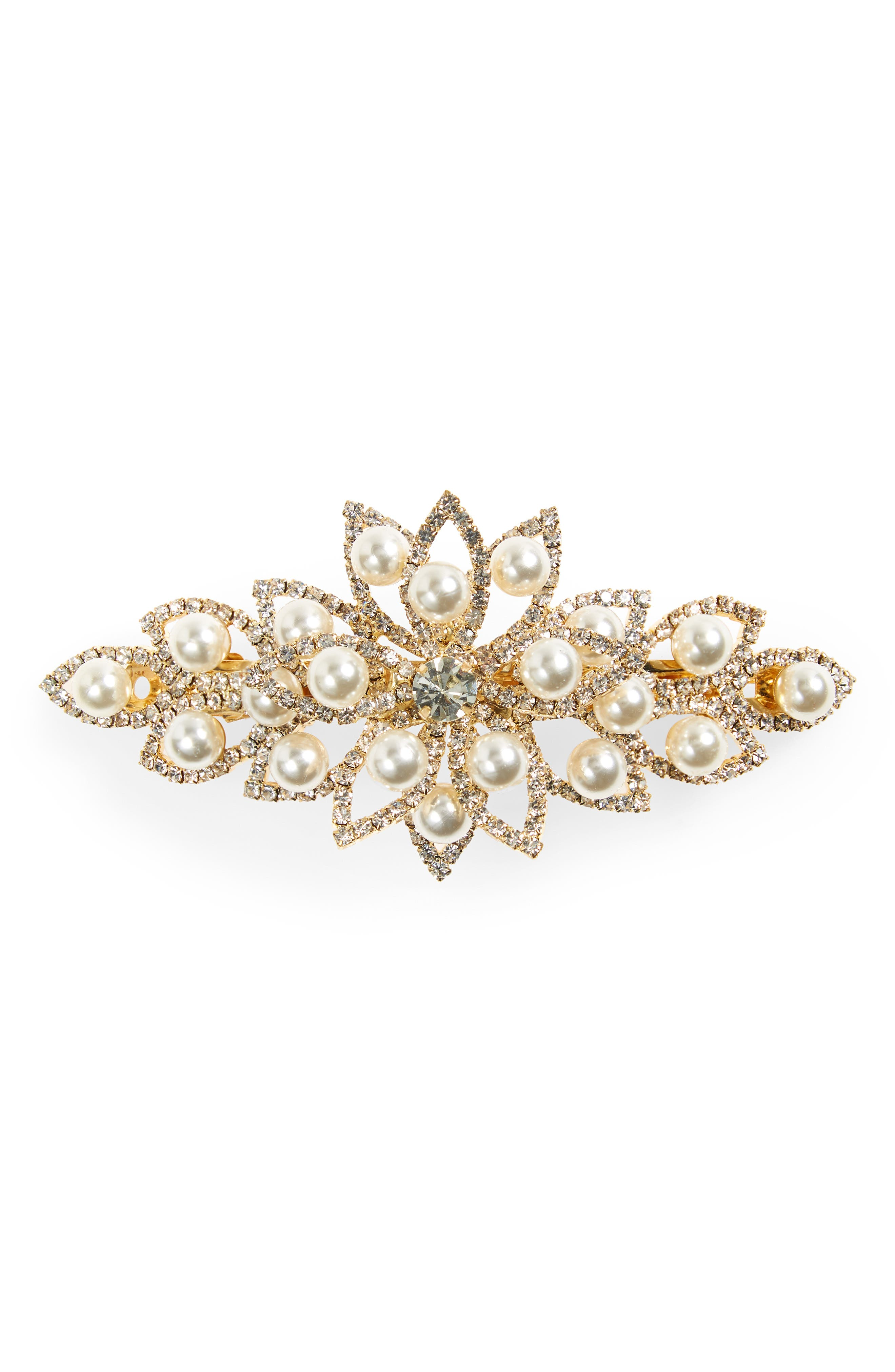 1920s Accessories | Great Gatsby Accessories Guide Tasha Crystal  Imitation Pearl Barrette $19.20 AT vintagedancer.com