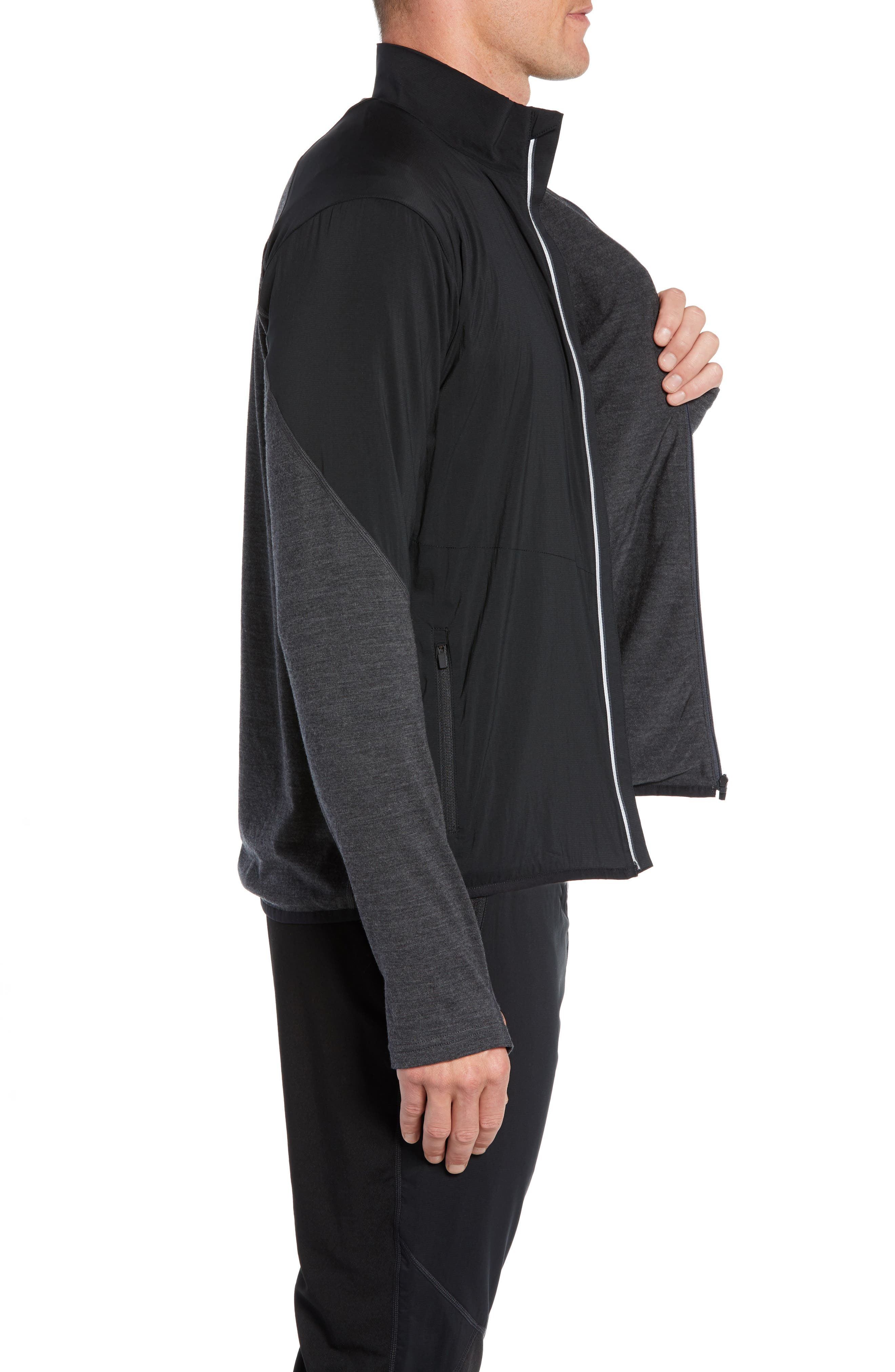 Tech Trainer Hybrid Jacket,                             Alternate thumbnail 3, color,                             BLACK