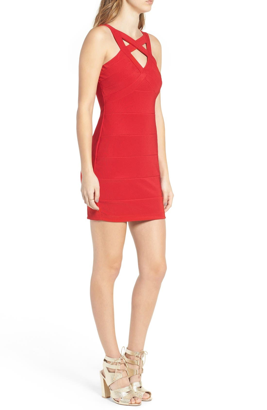 Cross Front Body-Con Dress,                             Alternate thumbnail 7, color,