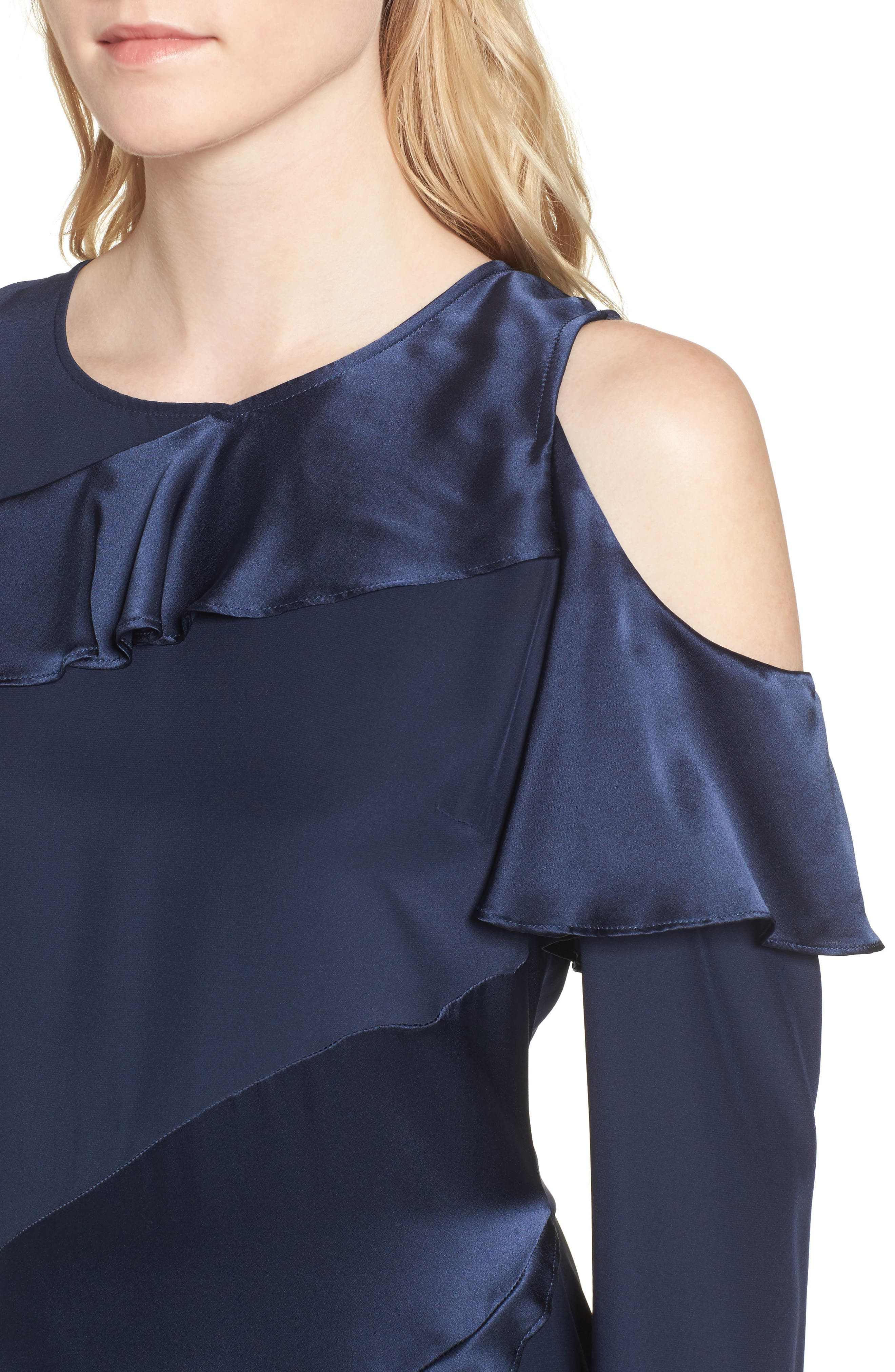 Nadeen Ruffle Cold Shoulder A-Line Dress,                             Alternate thumbnail 4, color,                             004