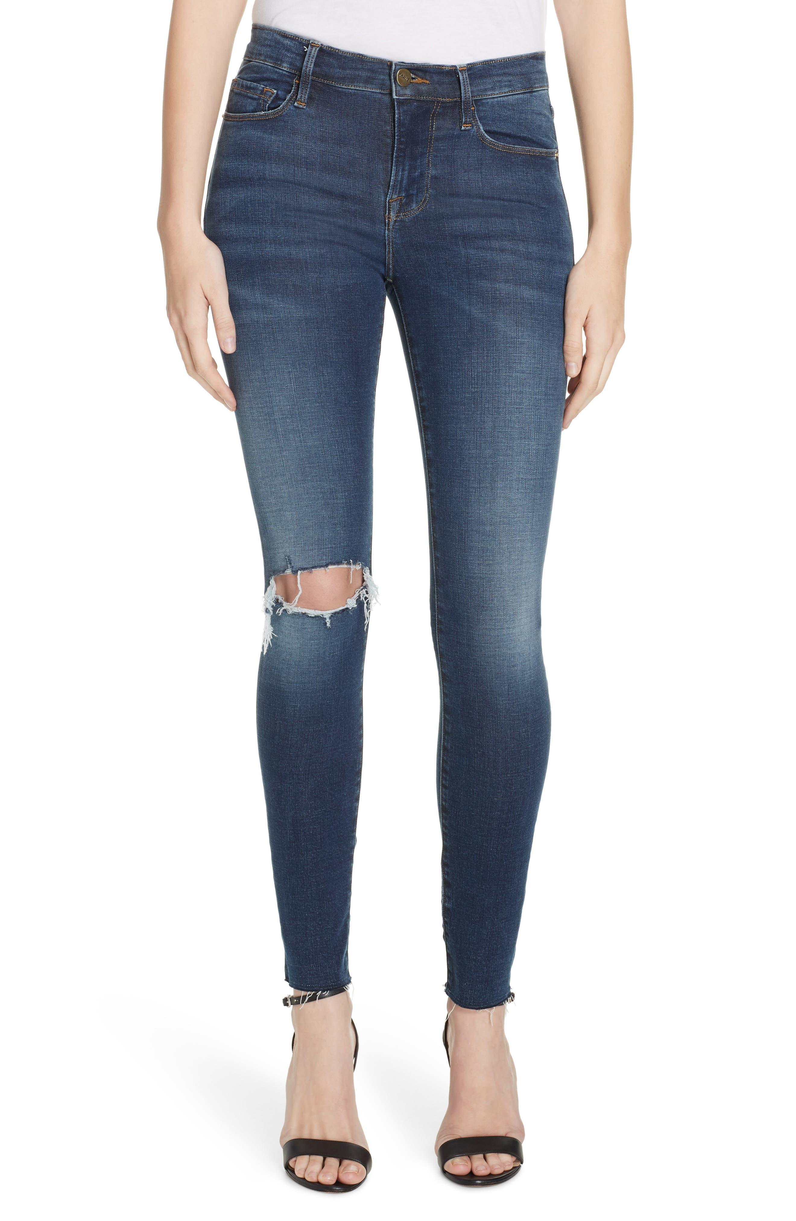Le Skinny de Jeanne Ripped Raw Hem Ankle Jeans,                             Main thumbnail 1, color,                             JOLIE
