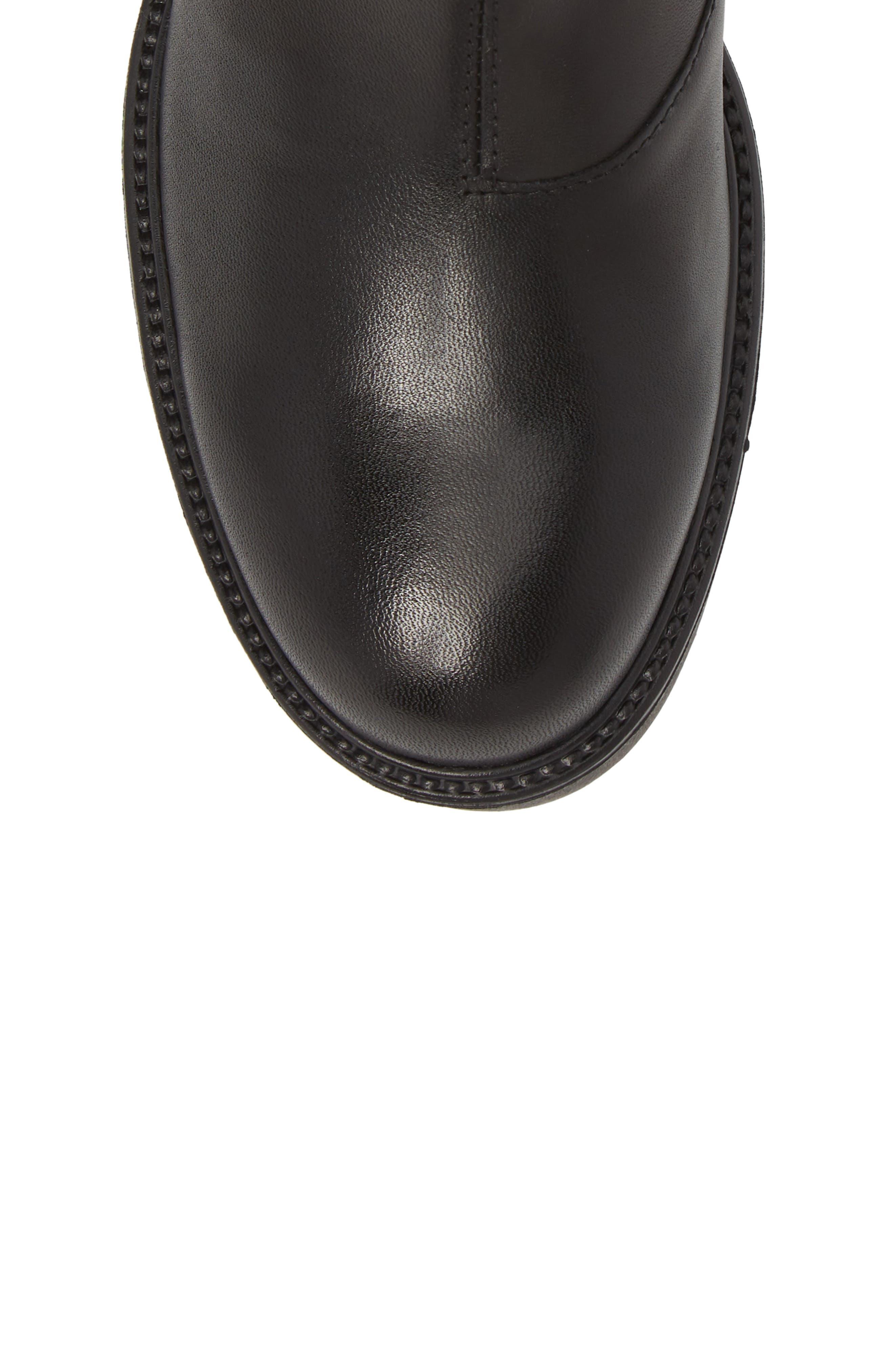 Kenova Lugged Chelsea Boot,                             Alternate thumbnail 5, color,                             BLACK LEATHER