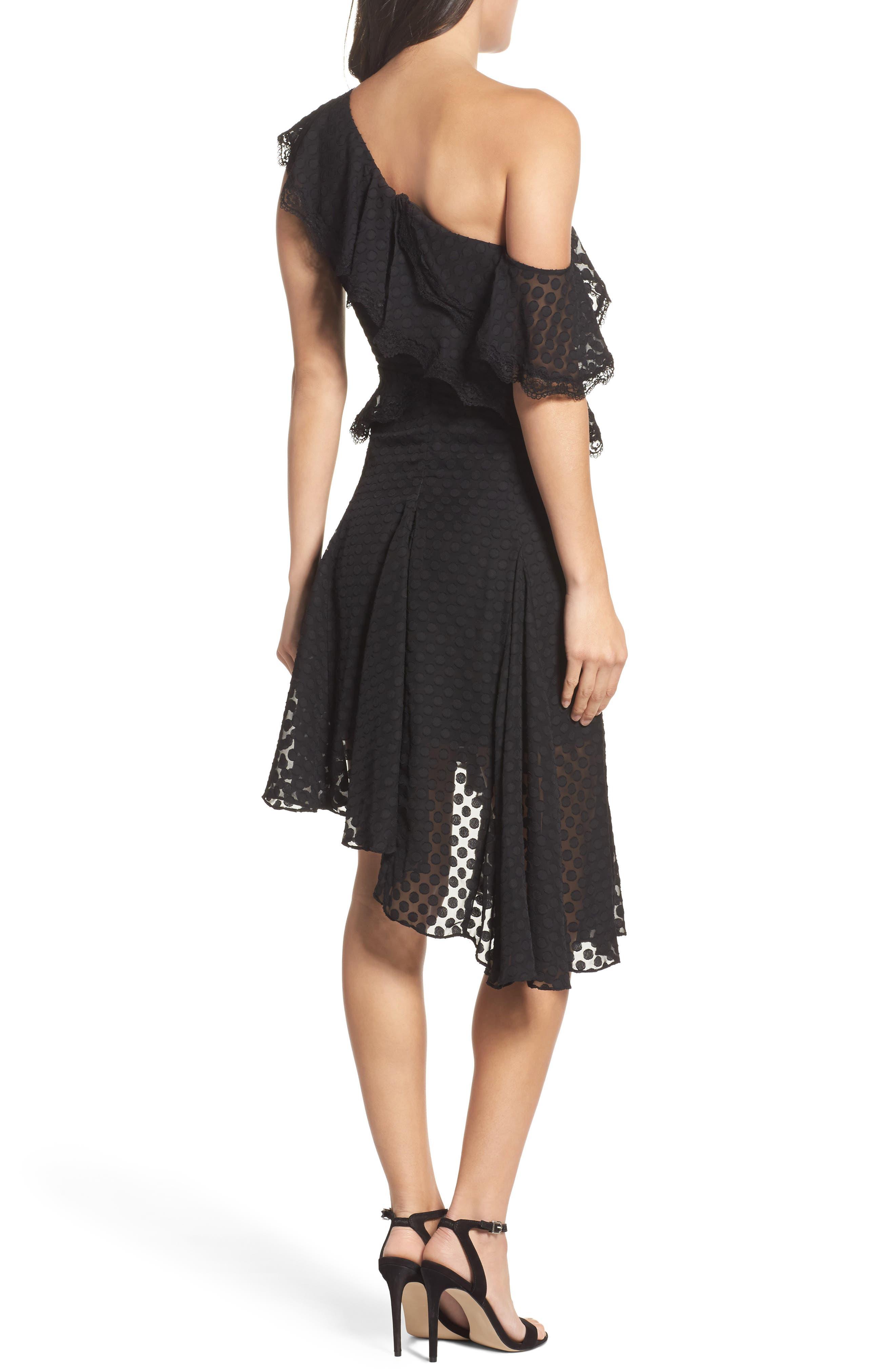 Señorita One-Shoulder Dot Chiffon Dress,                             Alternate thumbnail 2, color,                             001