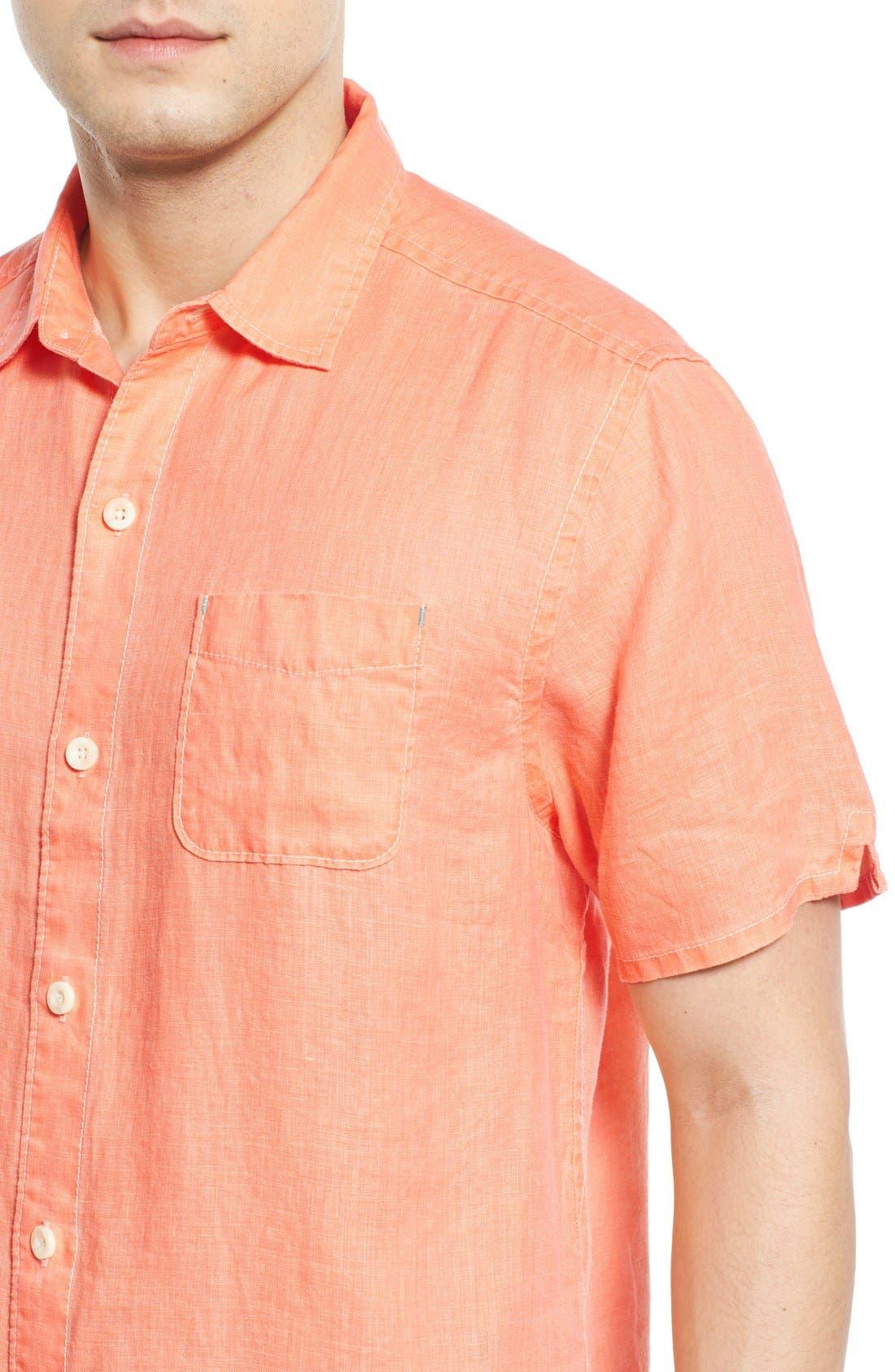 Seaglass Breezer Short Sleeve Linen Sport Shirt,                             Alternate thumbnail 41, color,
