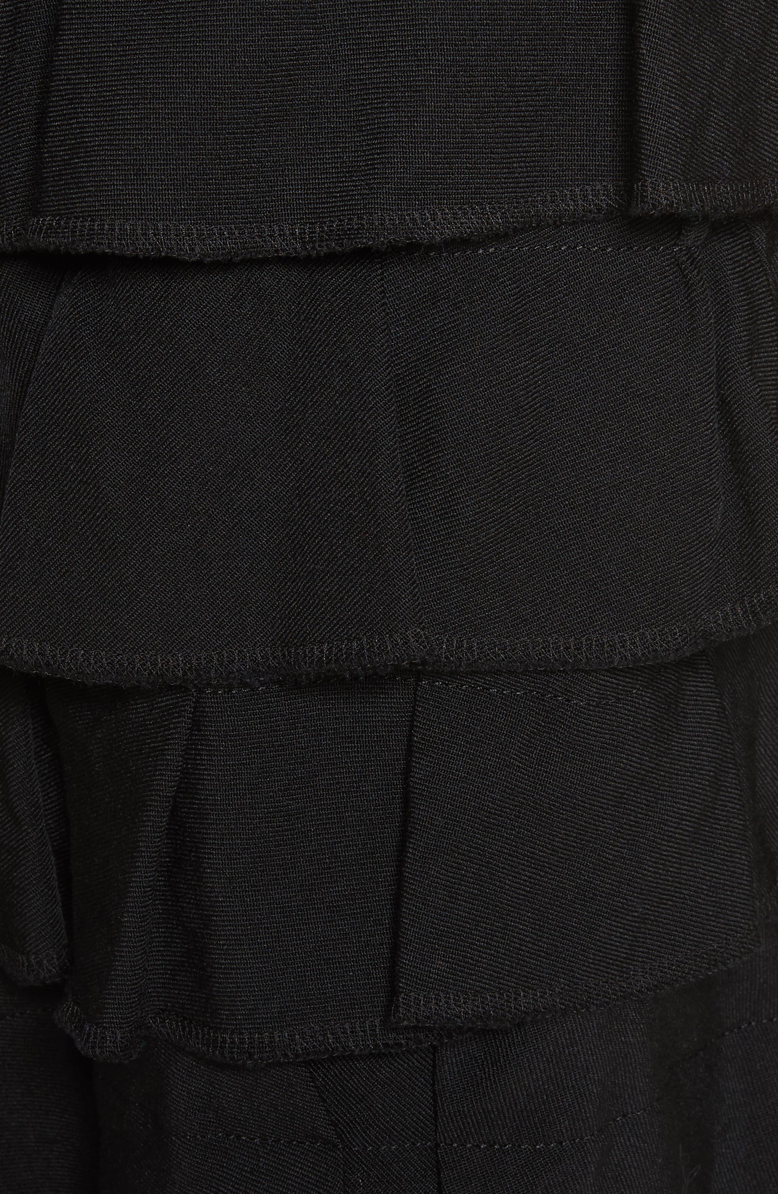 Ruffle Gabardine Skirt,                             Alternate thumbnail 5, color,                             001