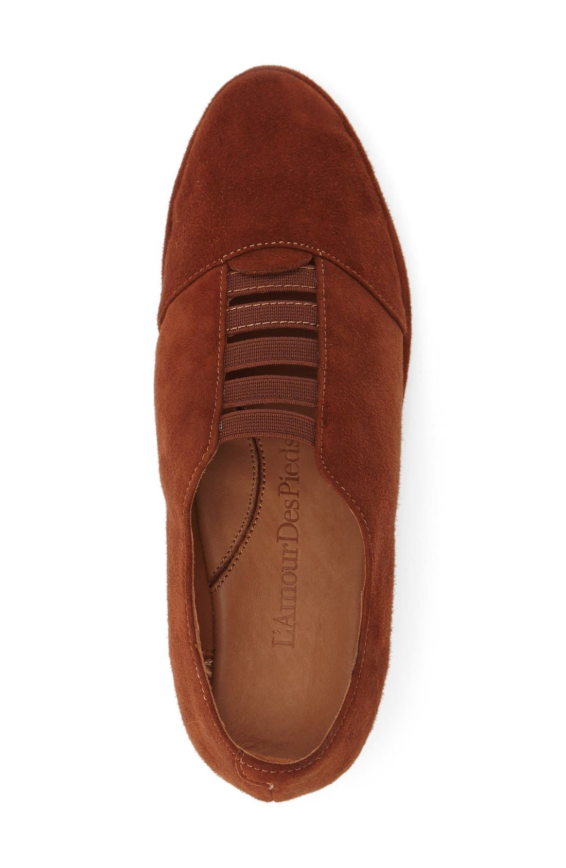 'Beziers' Slip-On,                             Alternate thumbnail 3, color,                             BRANDY SUEDE LEATHER