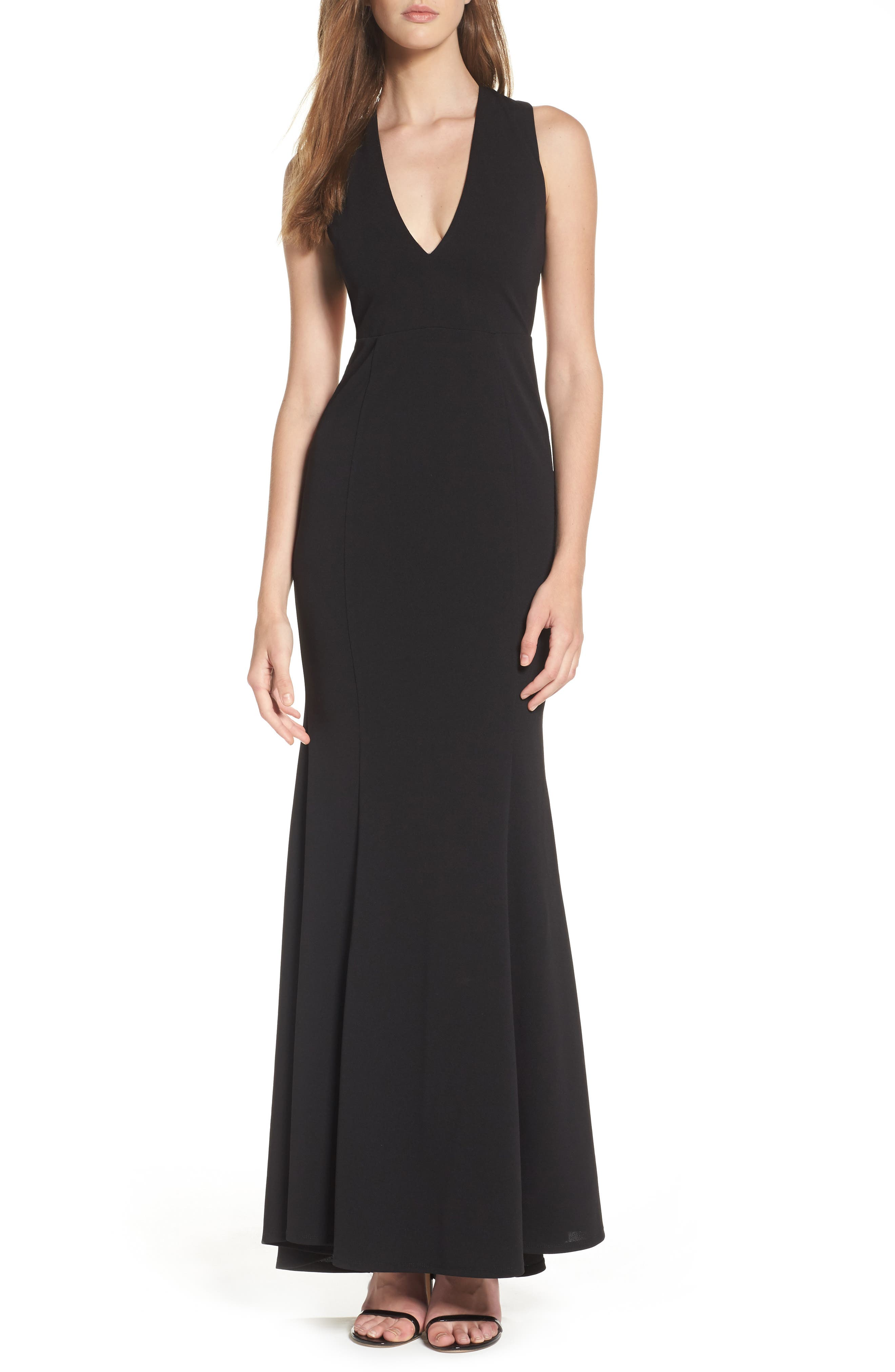 Heaven & Earth Plunge Neck Gown,                         Main,                         color, BLACK