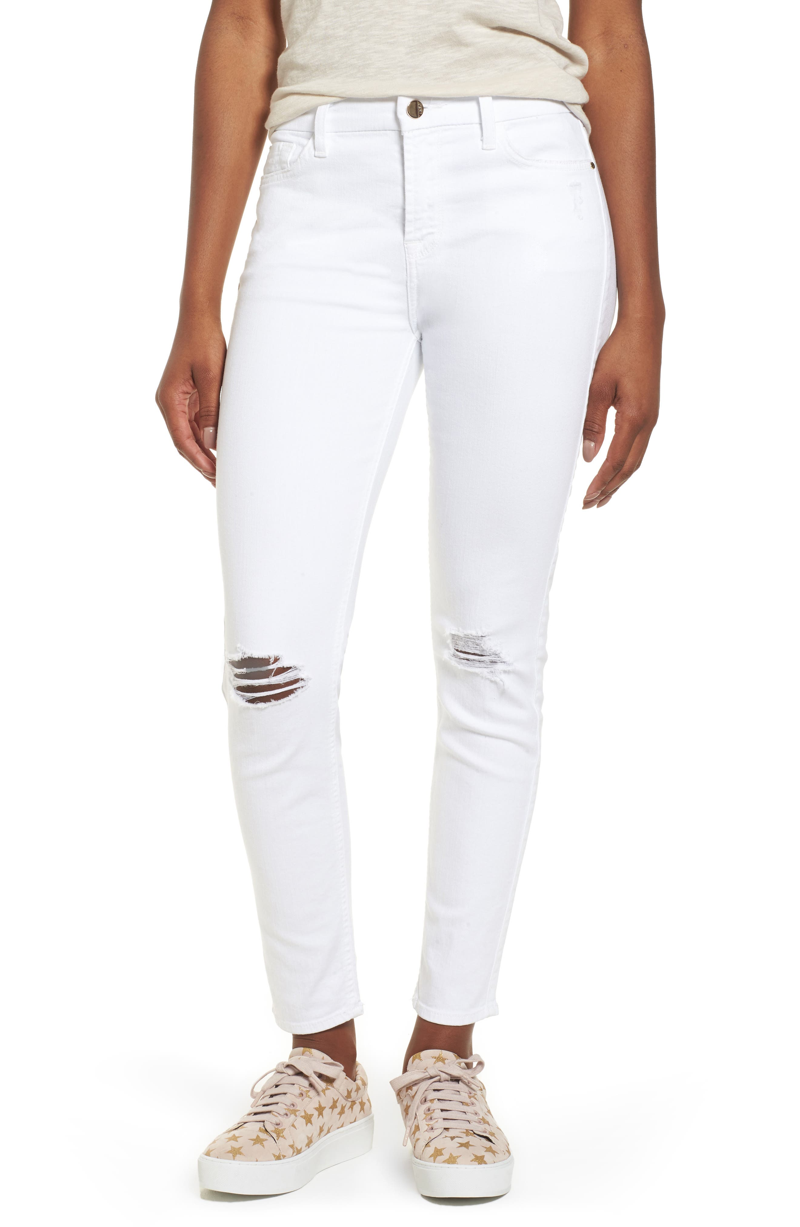 JEN7 BY 7 FOR ALL MANKIND Ankle Skinny Jeans, Main, color, WHITE 2
