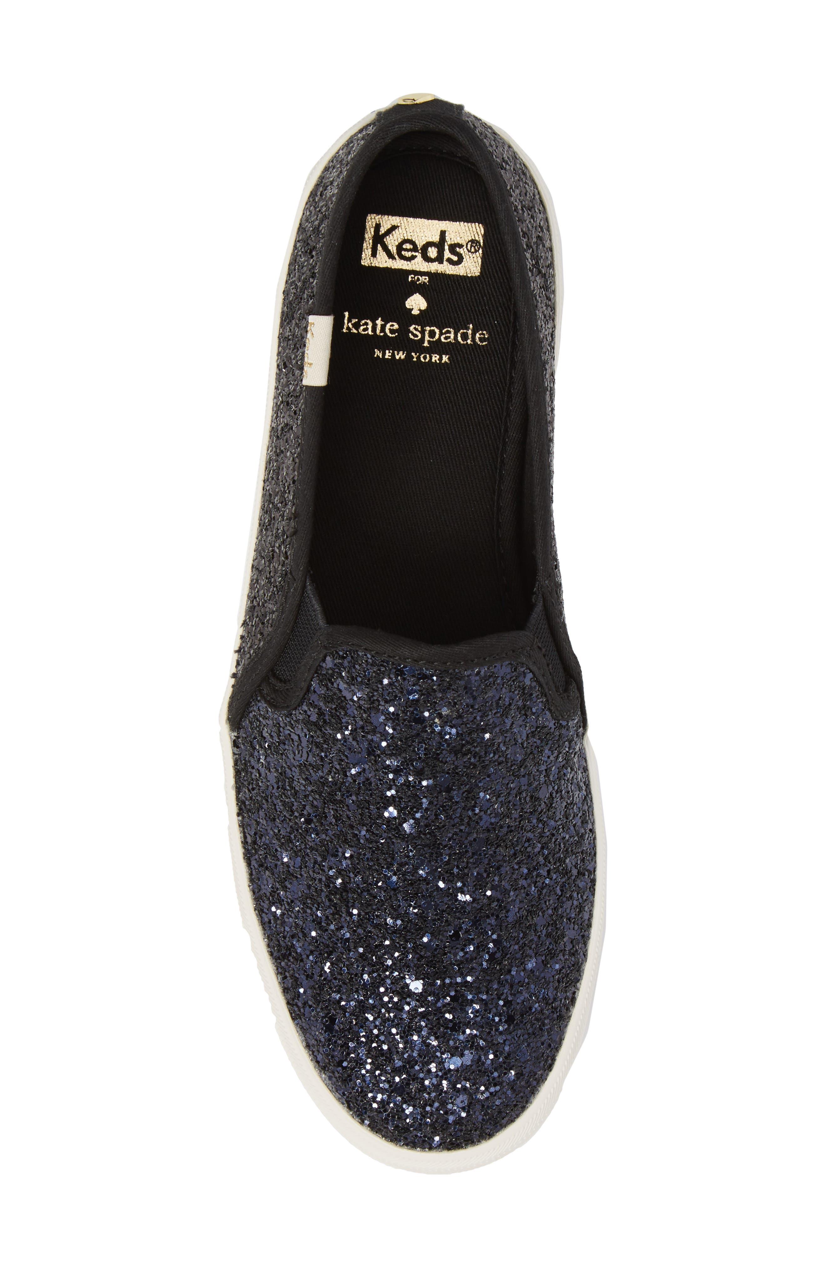 double decker glitter slip-on sneaker,                             Alternate thumbnail 5, color,                             410
