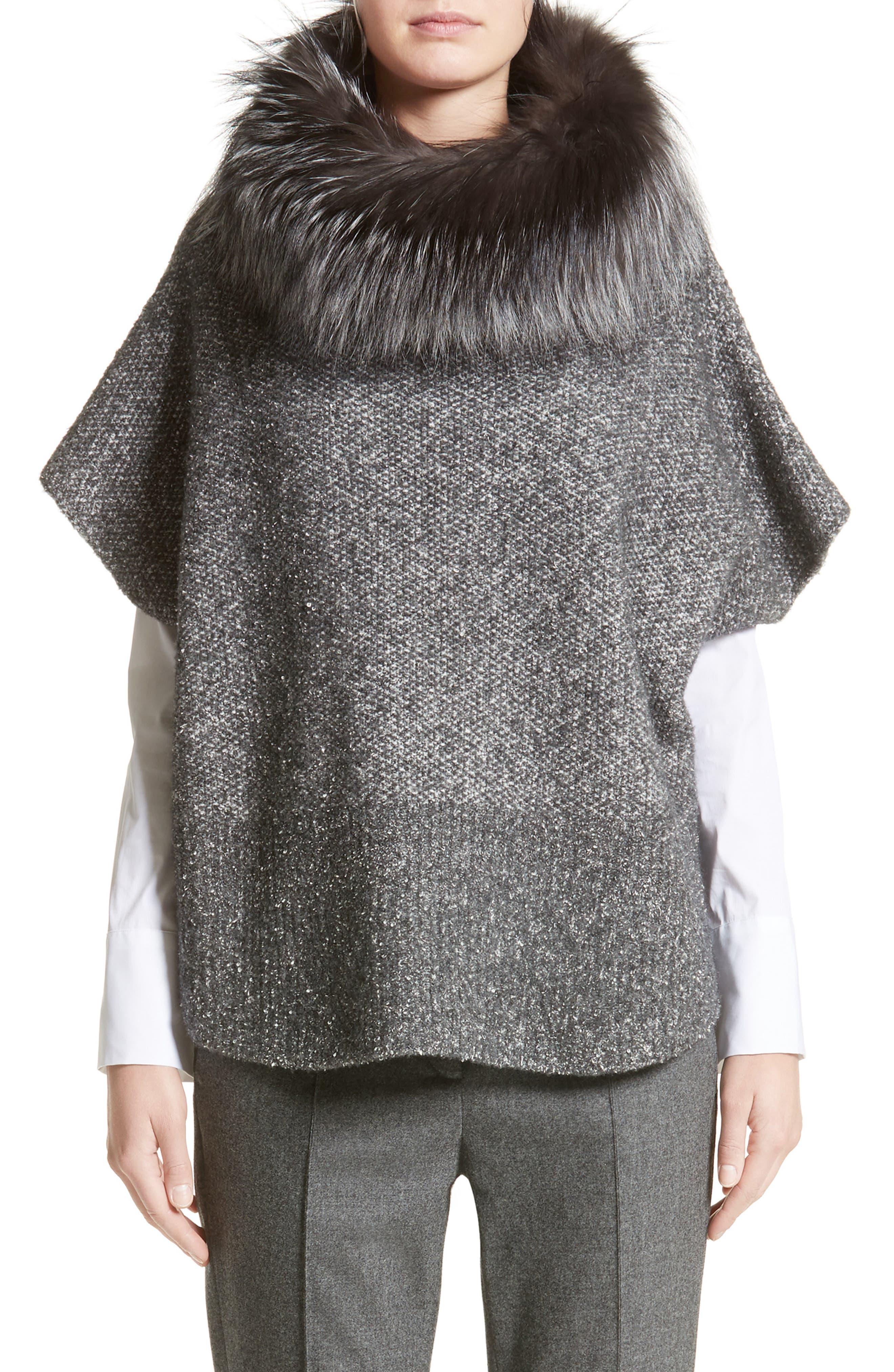 Pebble Tweed Knit Poncho with Genuine Fox Fur Collar,                         Main,                         color,