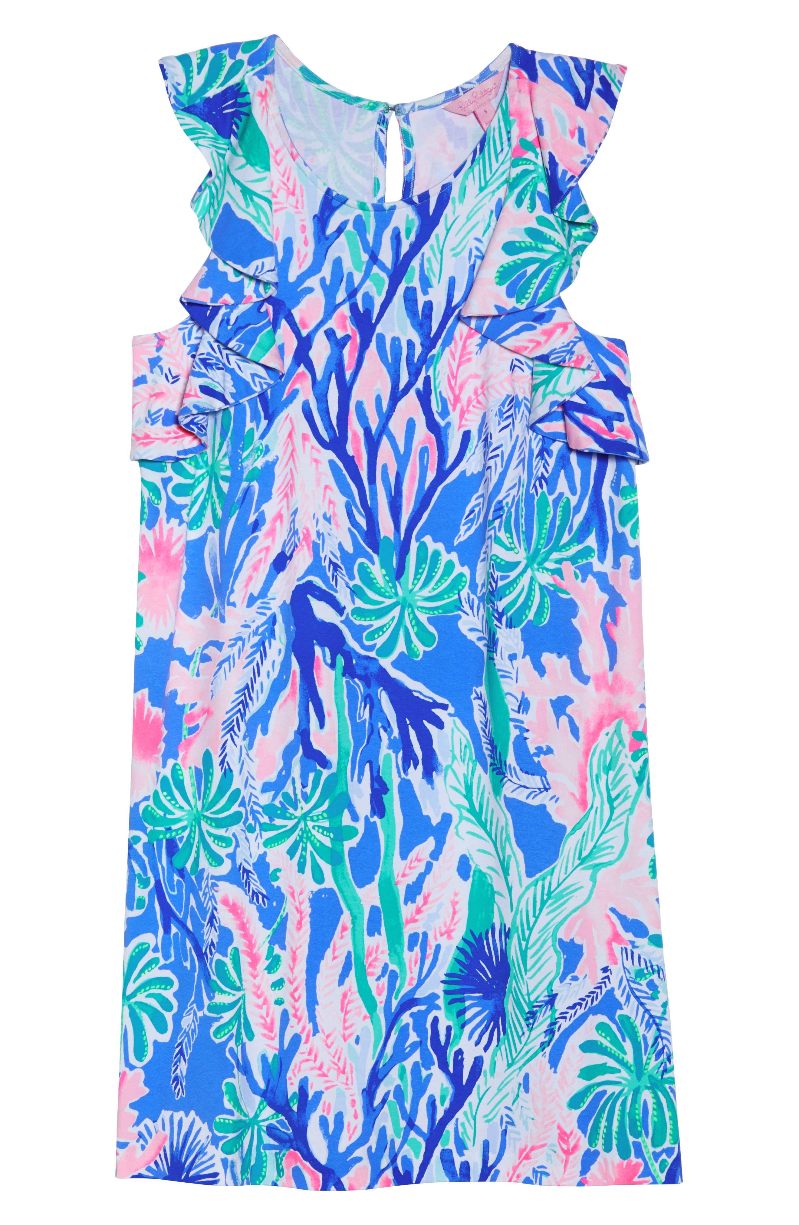 Esmeralda Shift Dress,                             Alternate thumbnail 7, color,                             MULTI JET STREAM