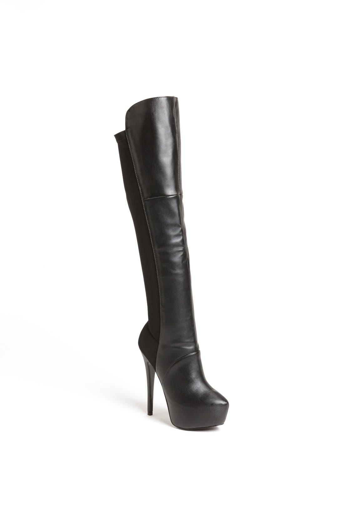 'Highting' Over the Knee Pointy Toe Stretch Boot,                             Main thumbnail 1, color,                             015