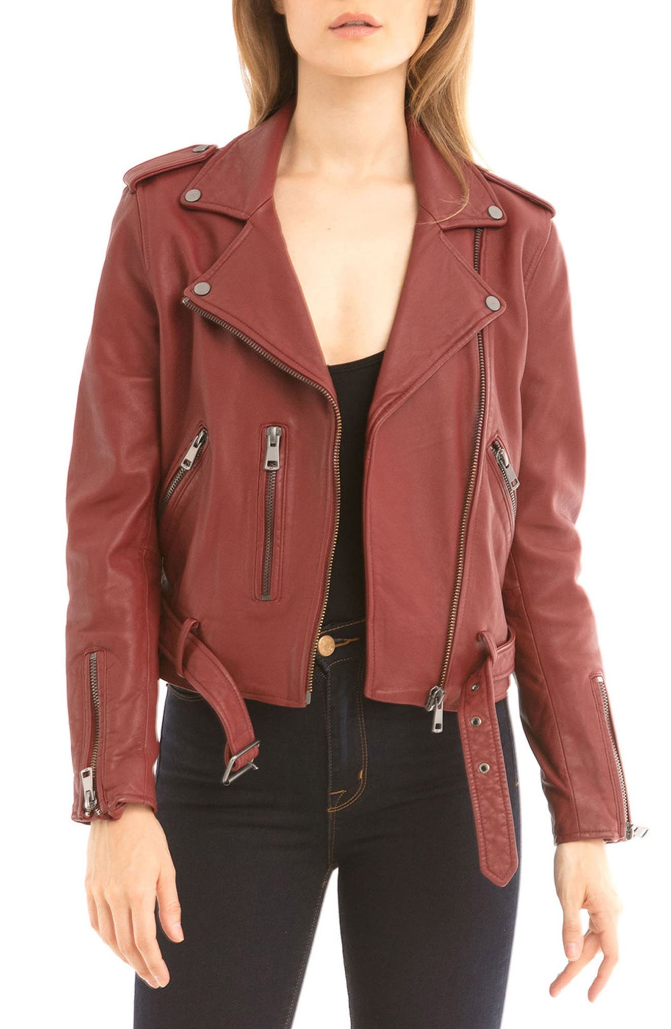NYC  Washed Leather Biker Jacket,                             Main thumbnail 6, color,