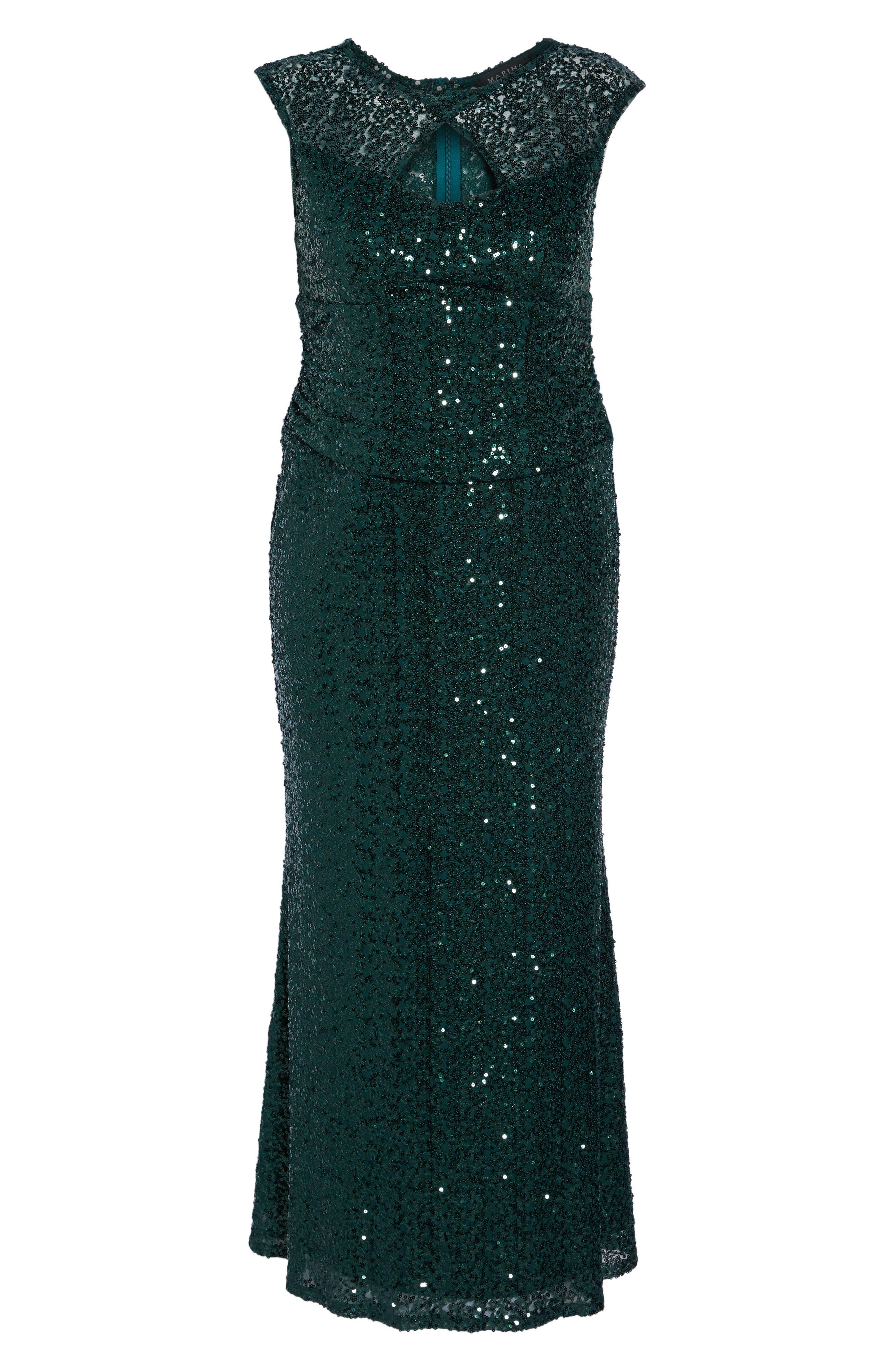 Cutout Sequin Lace Gown,                             Alternate thumbnail 12, color,
