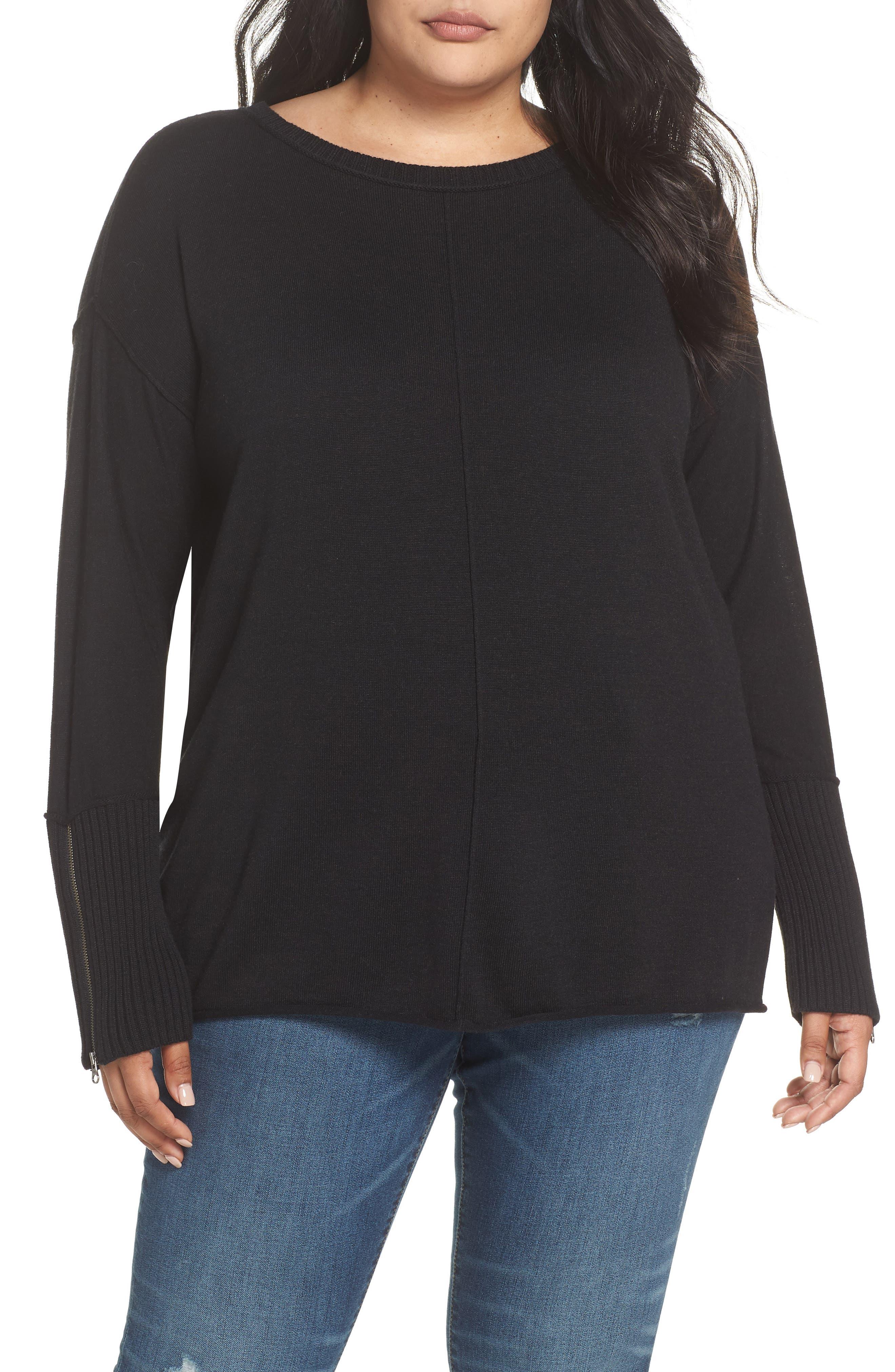 Mix Gauge Zip Cuff Sweater,                             Main thumbnail 1, color,                             001