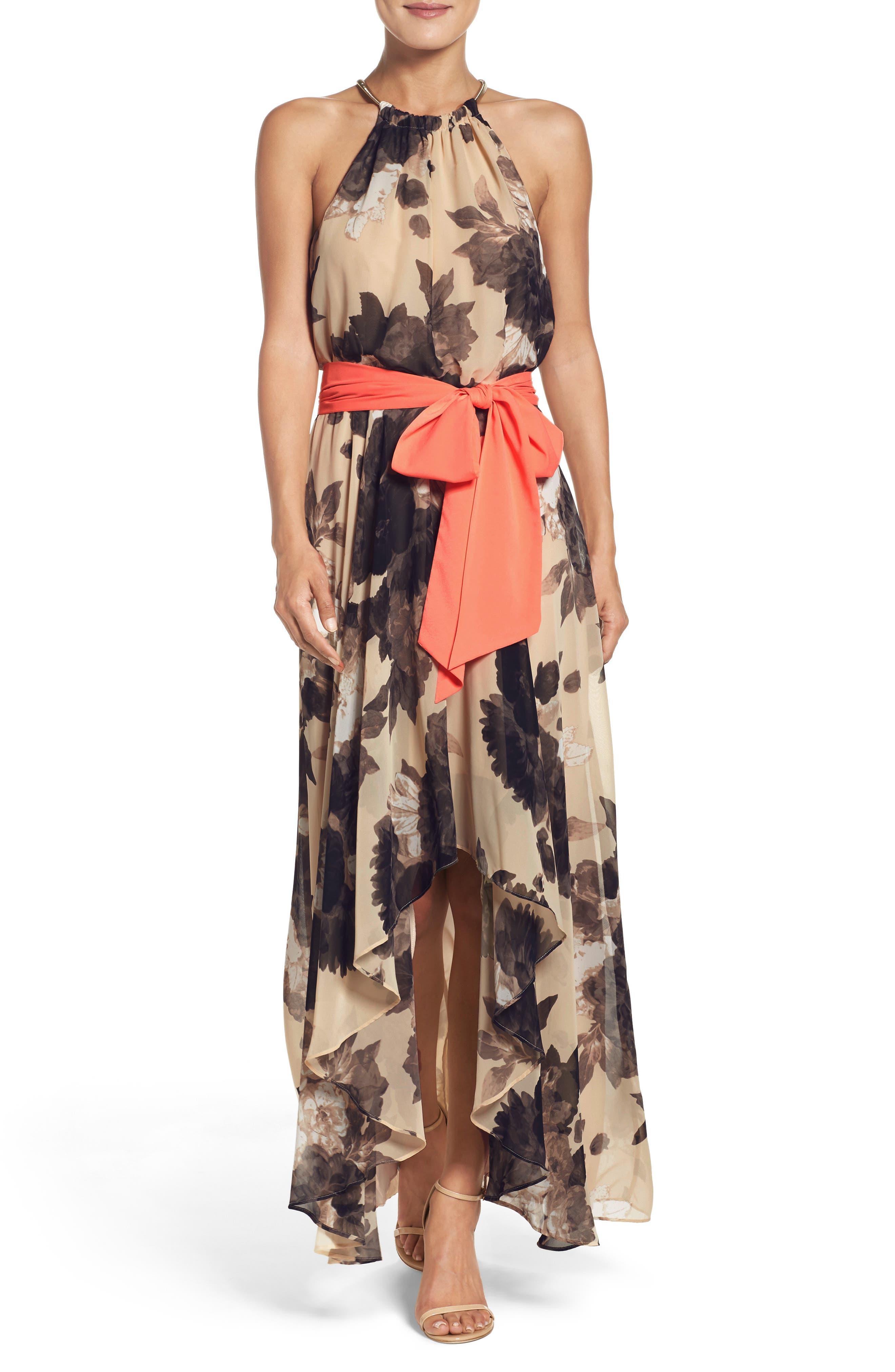 Floral Print Halter Chiffon Maxi Dress,                         Main,                         color, TAUPE/ BLACK