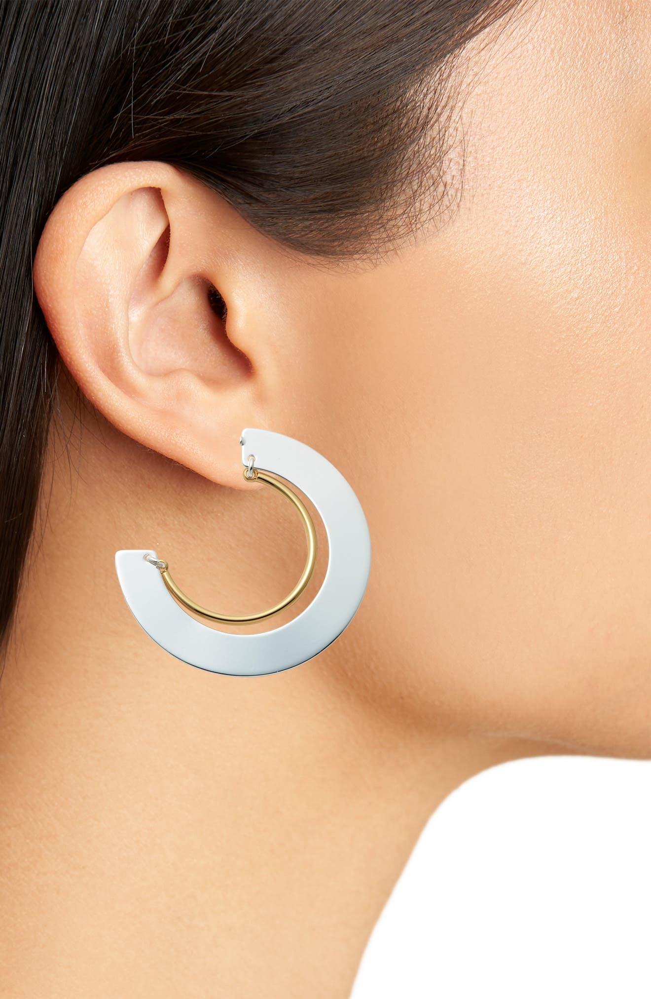 Uma Nested Hoop Earrings,                             Alternate thumbnail 2, color,                             TWO-TONE