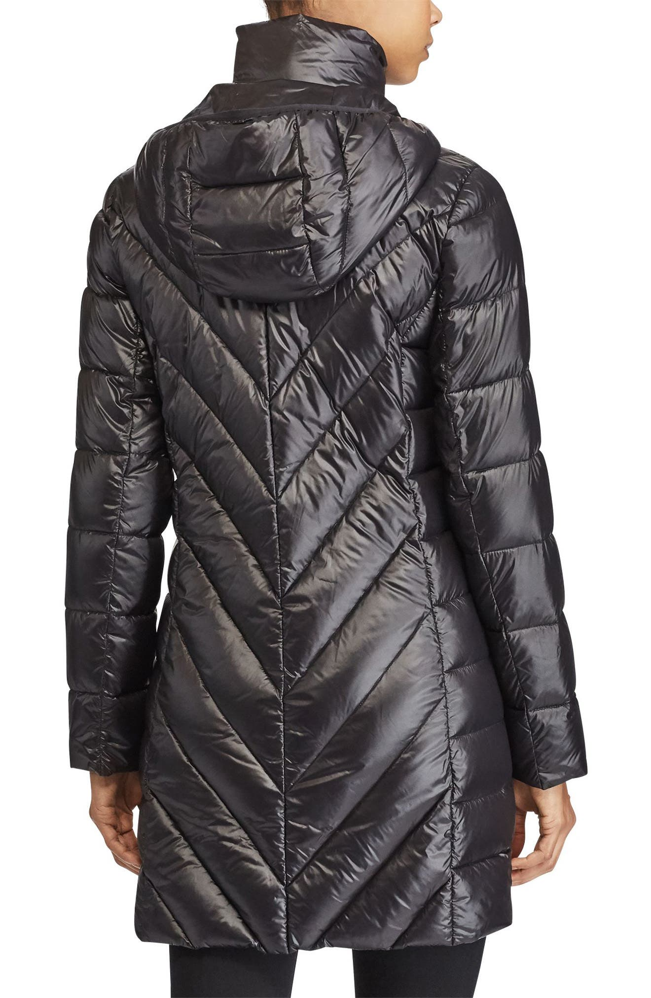 Chevron Quilted Down Jacket,                             Alternate thumbnail 2, color,                             001