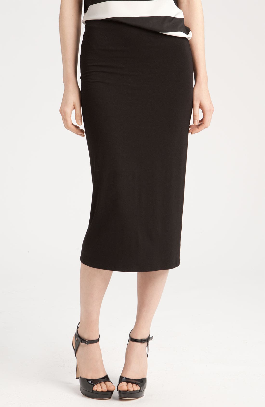 Stretch Knit Midi Tube Skirt,                             Alternate thumbnail 2, color,                             RICH BLACK