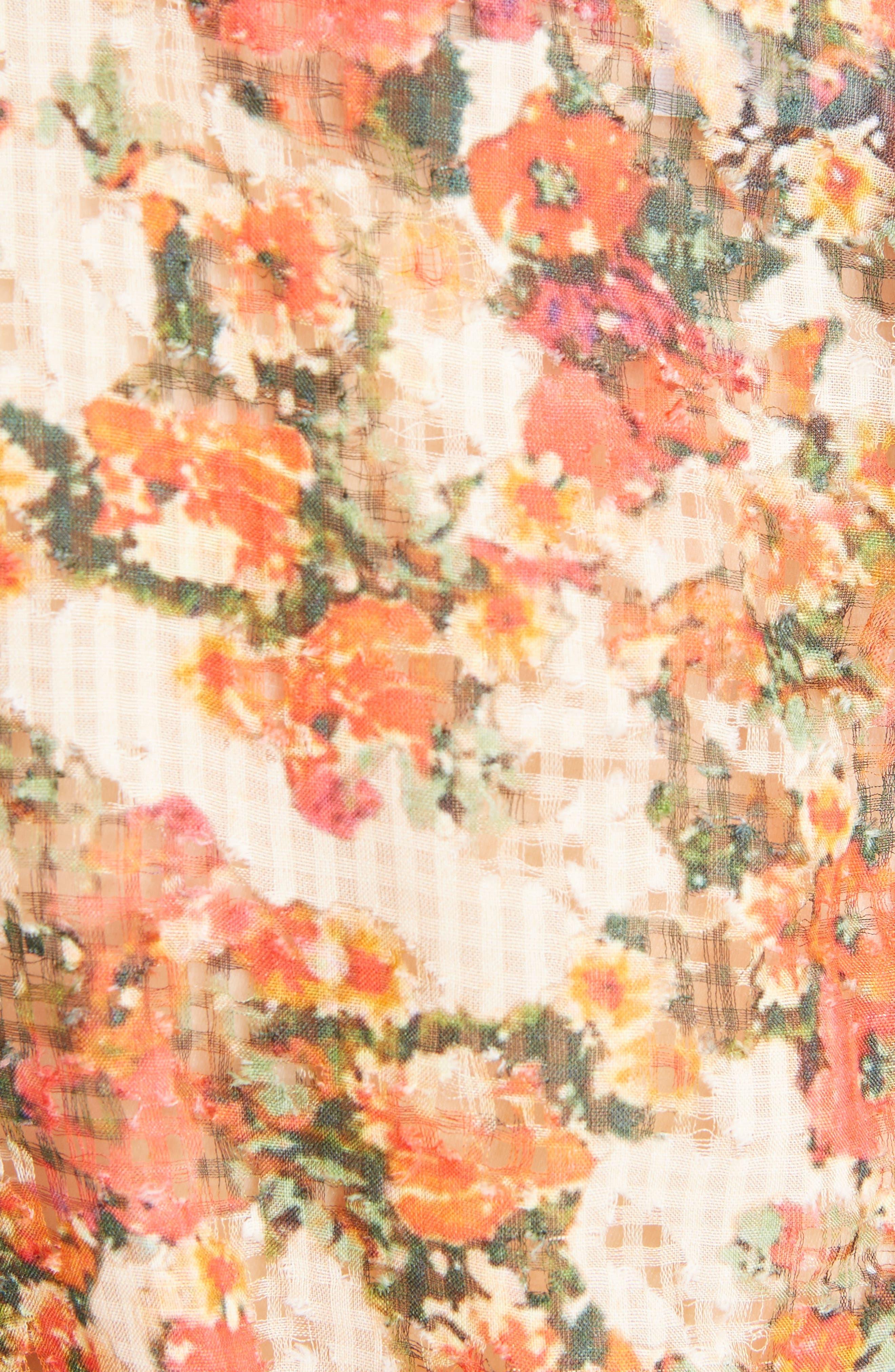 Floral Print Ruffle Dress,                             Alternate thumbnail 5, color,                             600