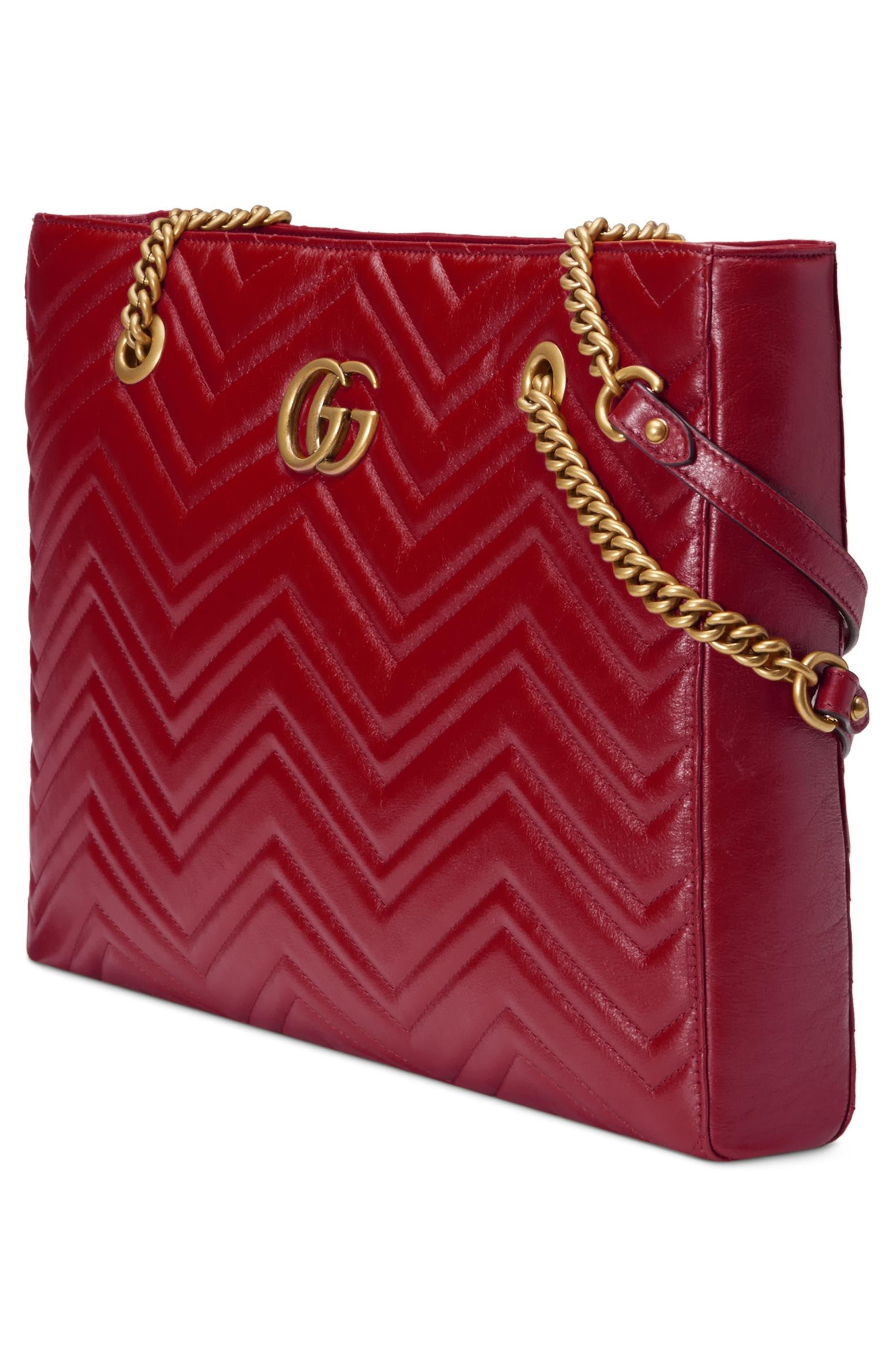 GG Marmont 2.0 Matelassé Medium Leather East/West Tote Bag,                             Alternate thumbnail 5, color,                             CERISE/ CERISE