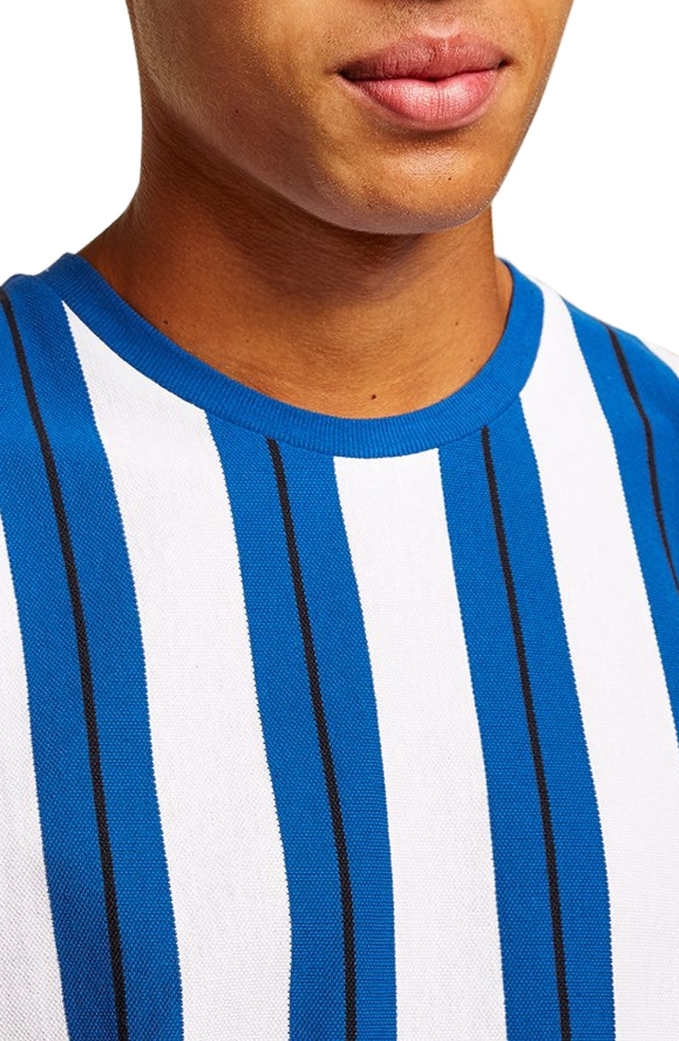 Stripe Piqué T-Shirt,                             Alternate thumbnail 4, color,                             BLUE