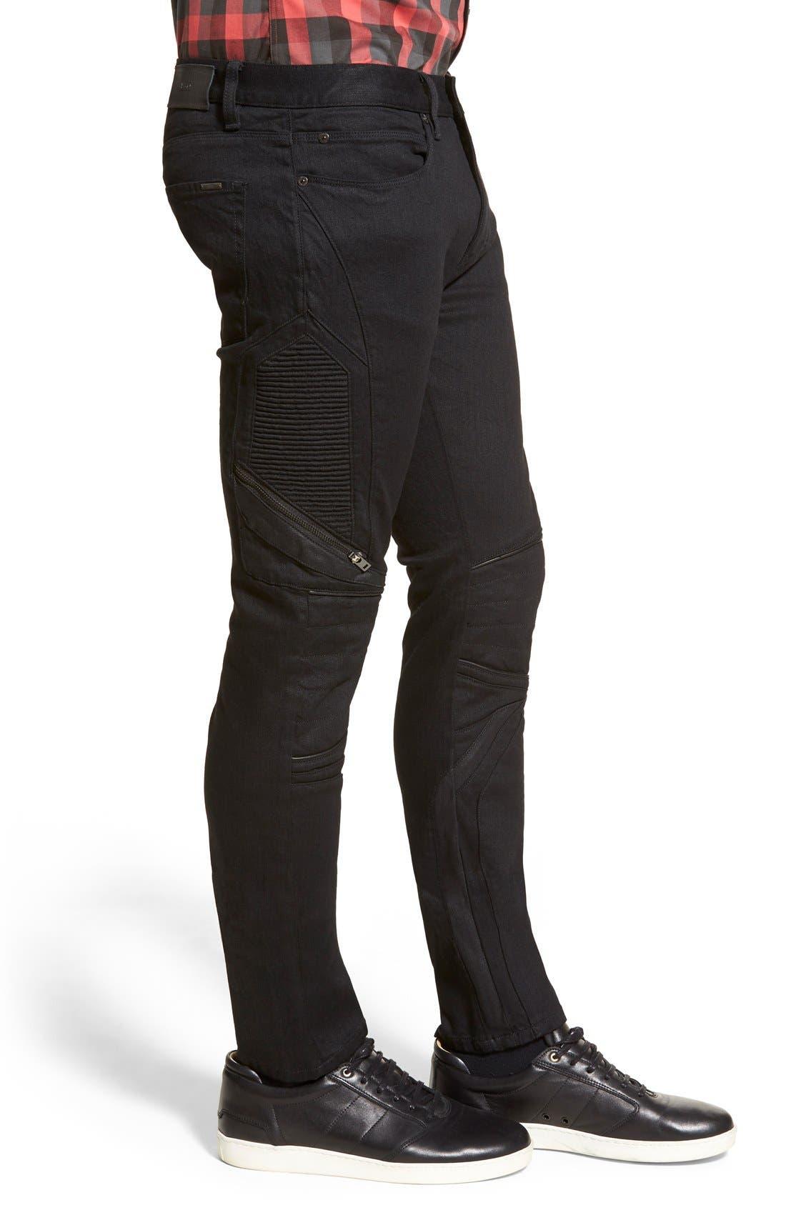 ZZDNUHUGO BOSS,                             HUGO '734/24' Skinny Fit Moto Jeans,                             Alternate thumbnail 2, color,                             001