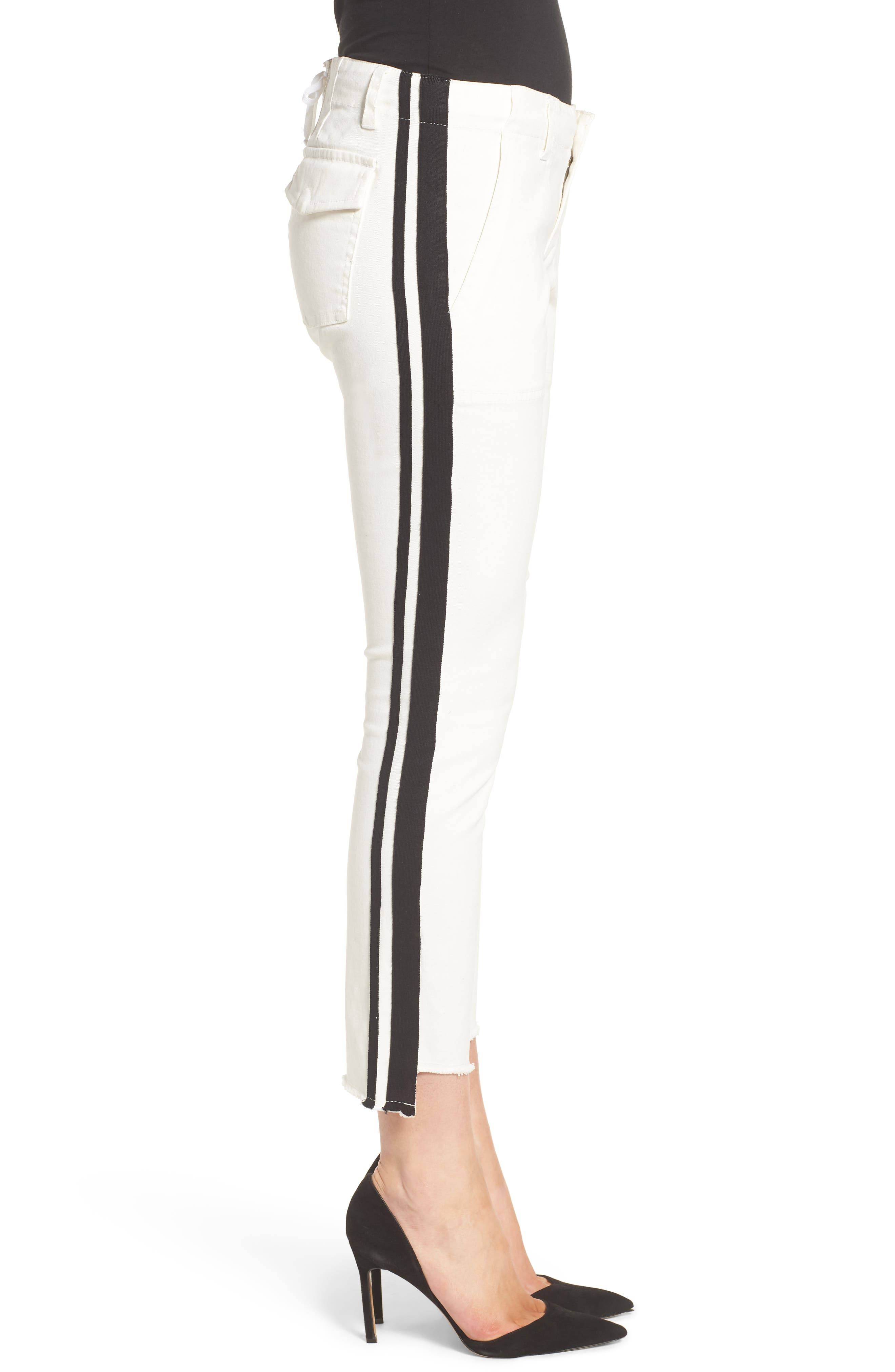 Offset Skinny Pants,                             Alternate thumbnail 3, color,                             WHITE