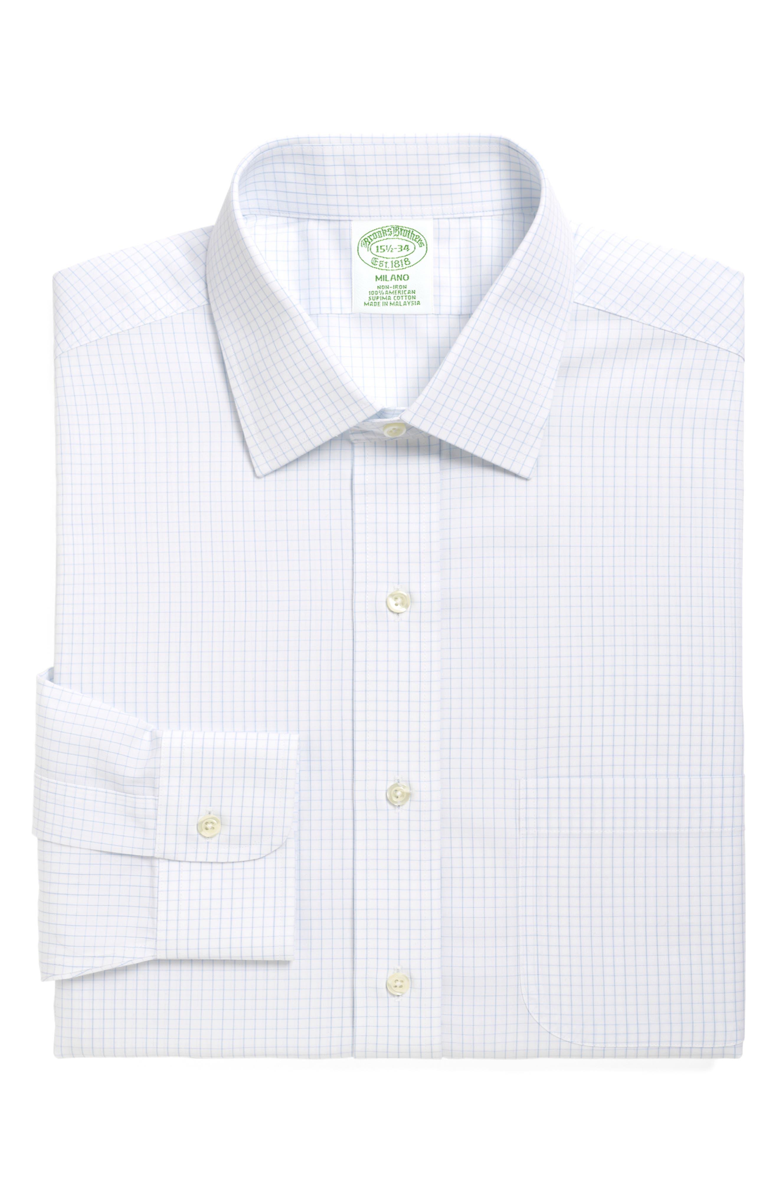 Trim Fit Check Dress Shirt,                             Main thumbnail 1, color,                             LIGHT/ PASTEL BLUE