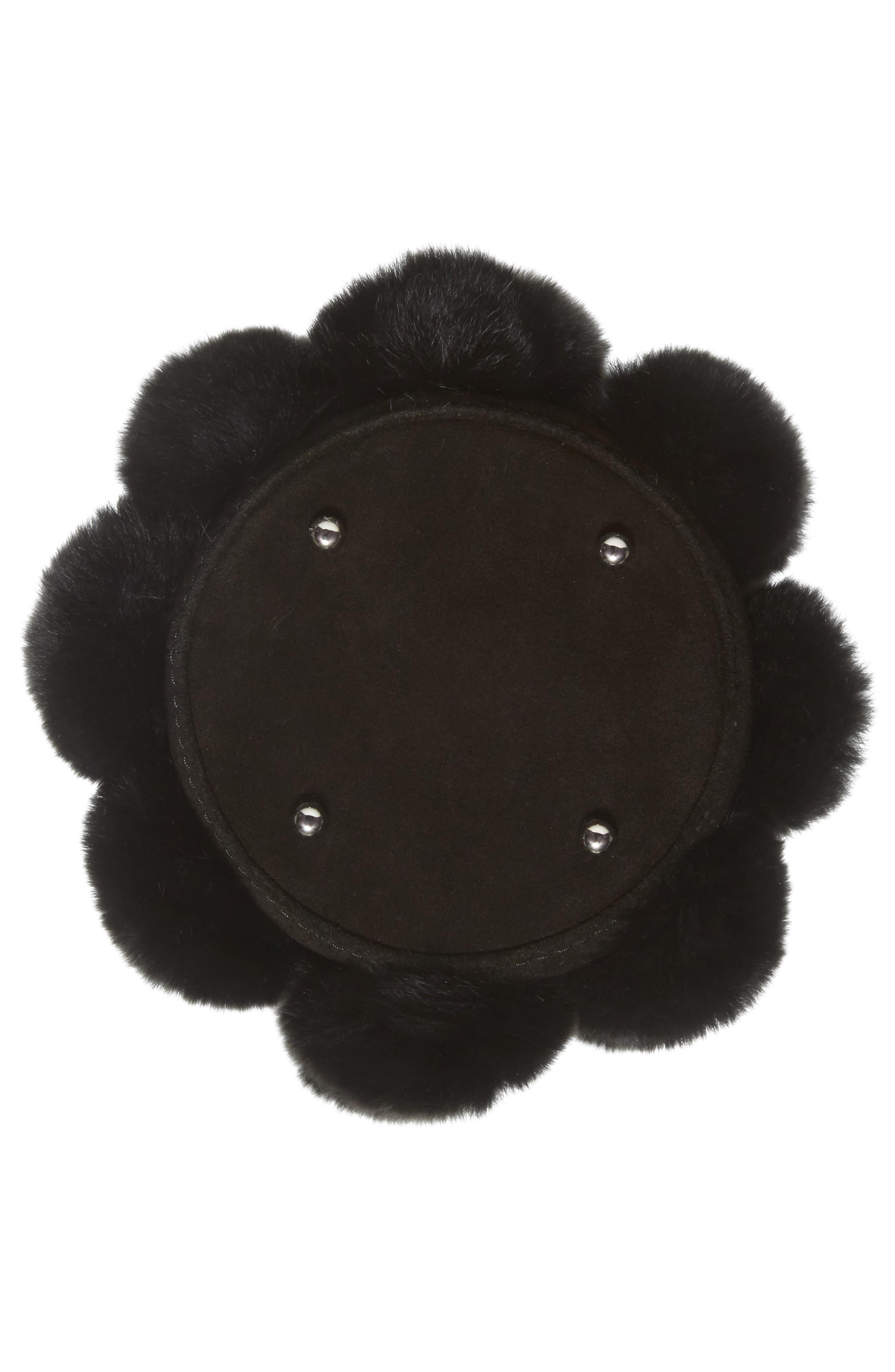 Mini Roxy Genuine Rabbit Fur Pompom Leather,                             Alternate thumbnail 6, color,                             001