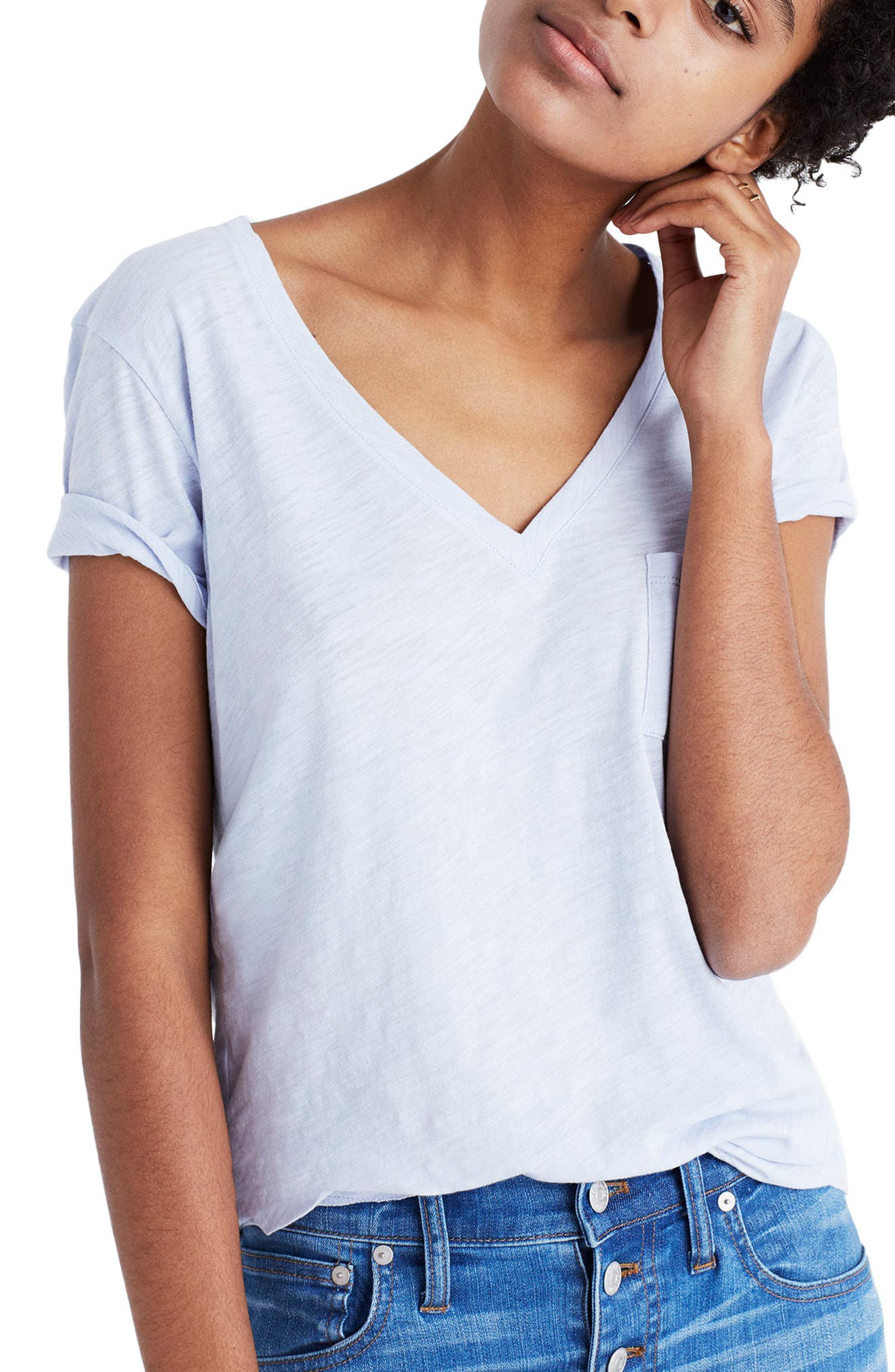 Whisper Cotton V-Neck Pocket Tee,                             Main thumbnail 25, color,