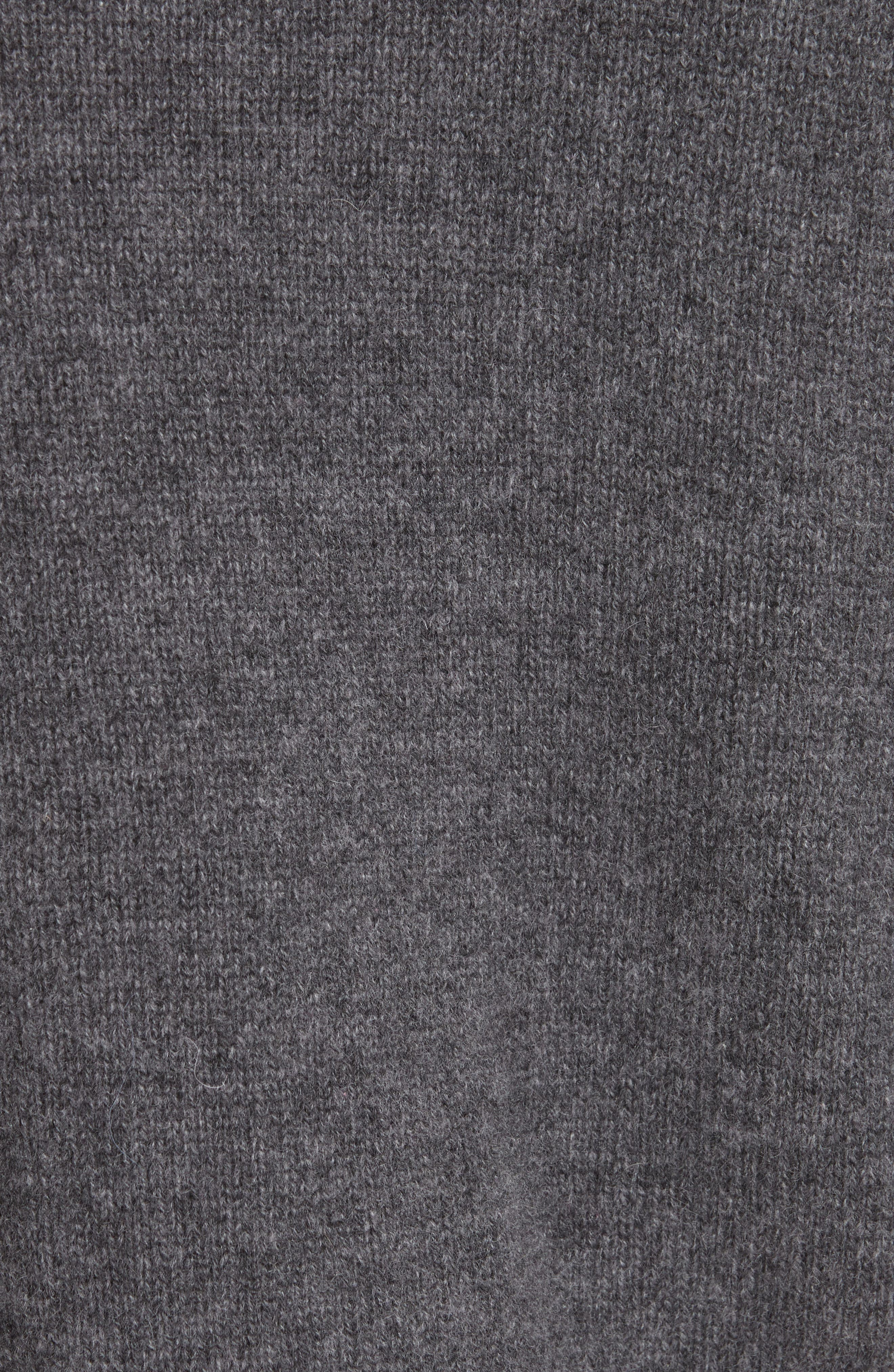 Cashmere Crop Pin Sweater,                             Alternate thumbnail 5, color,                             HEATHER GREY
