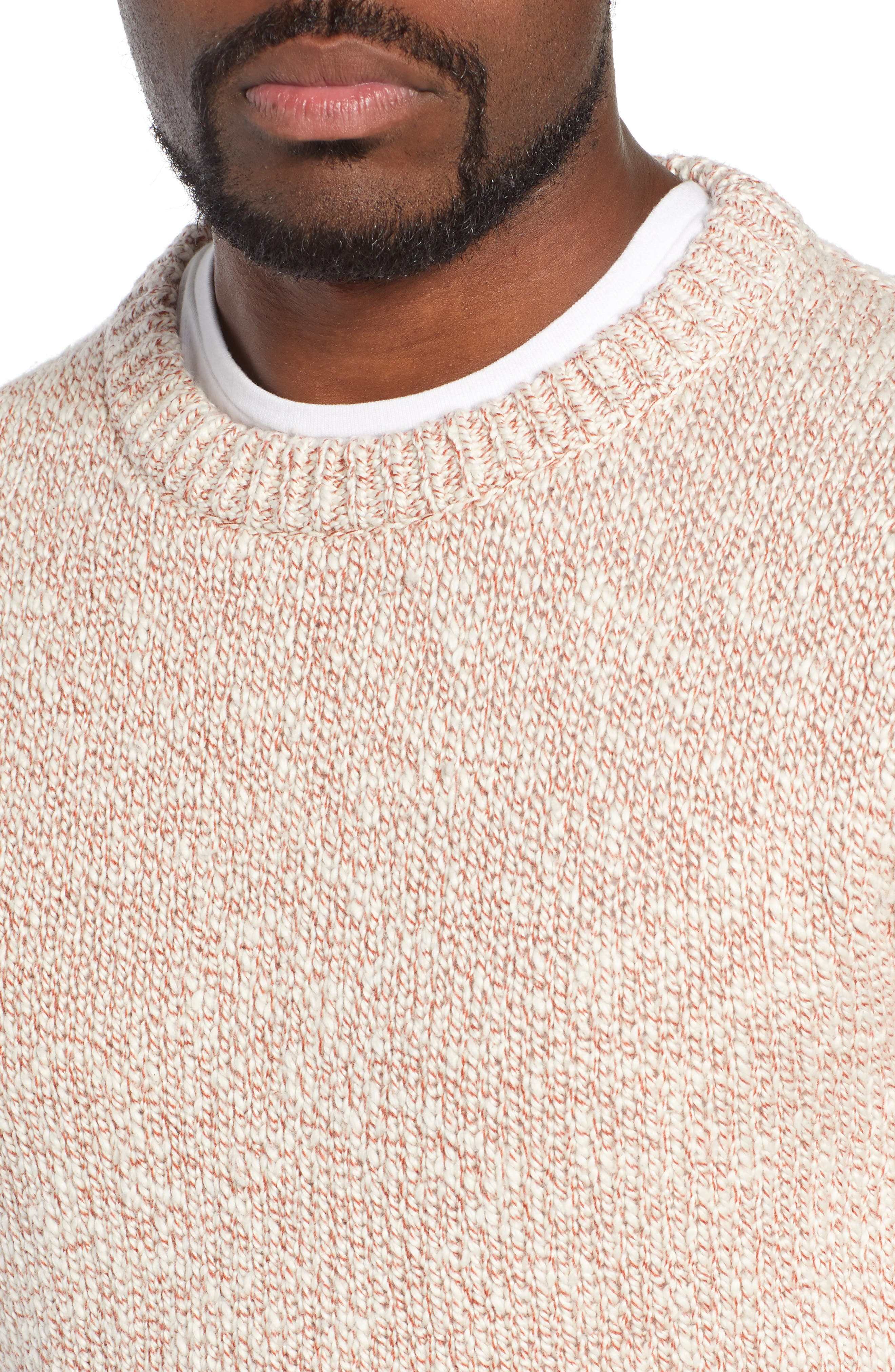 Wallace & Barnes Crewneck Marled Cotton Sweater,                             Alternate thumbnail 4, color,                             TERRACOTTA