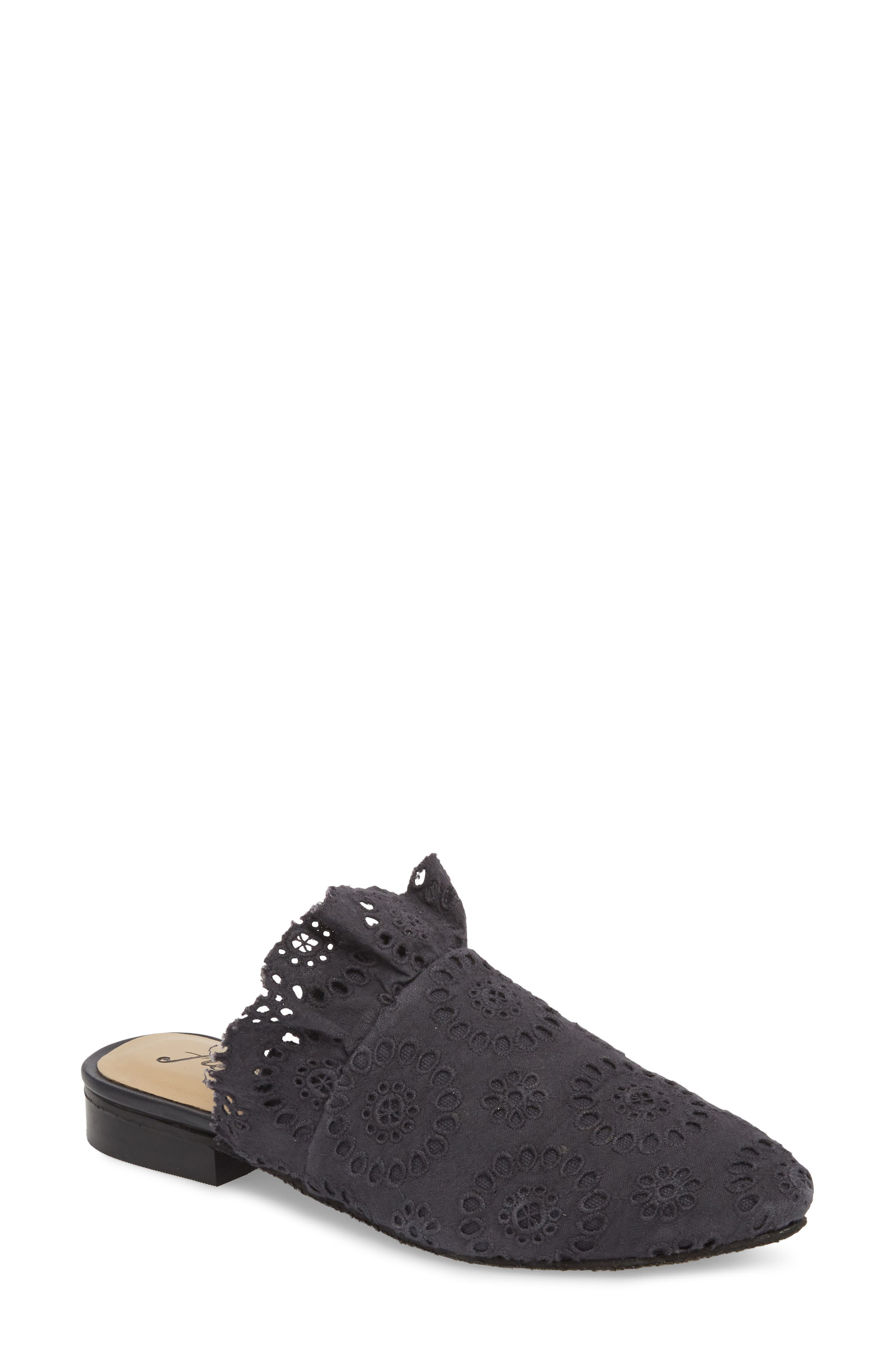 Eyelet Sienna Mule,                             Main thumbnail 1, color,                             BLACK