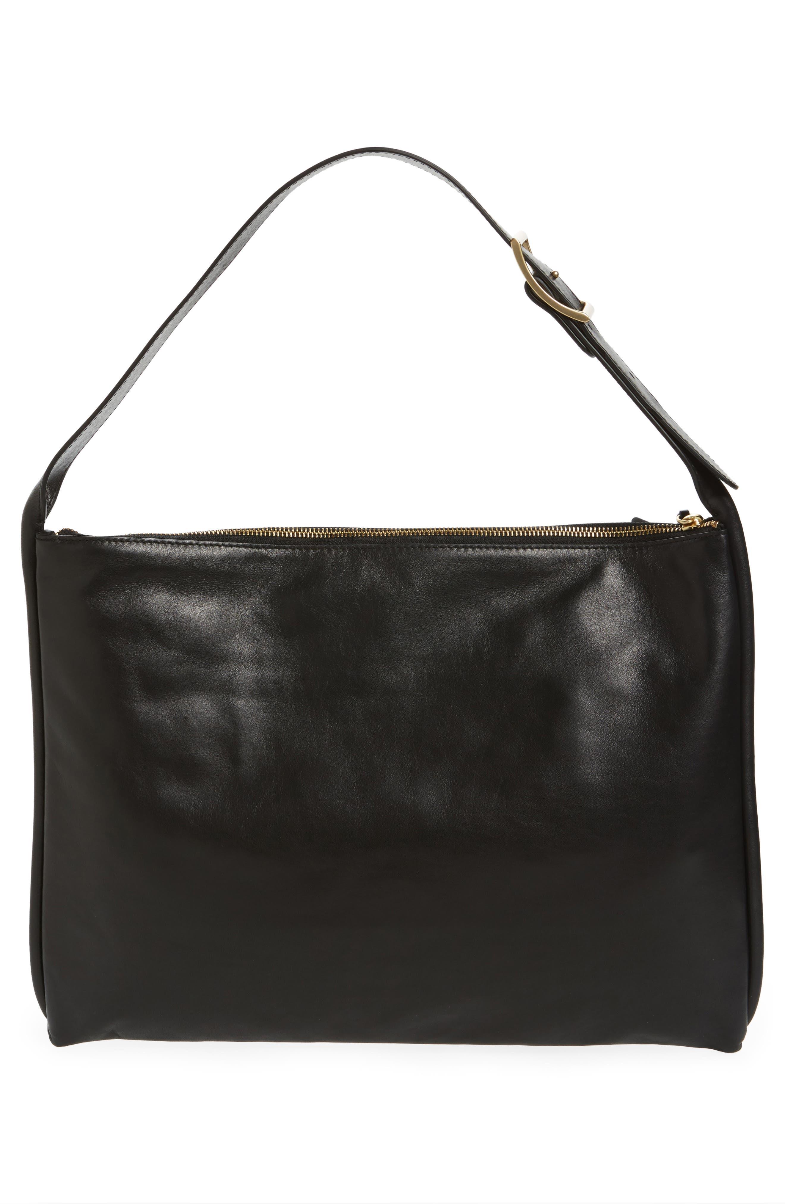 Anesa Leather Shoulder Bag,                             Alternate thumbnail 3, color,                             001