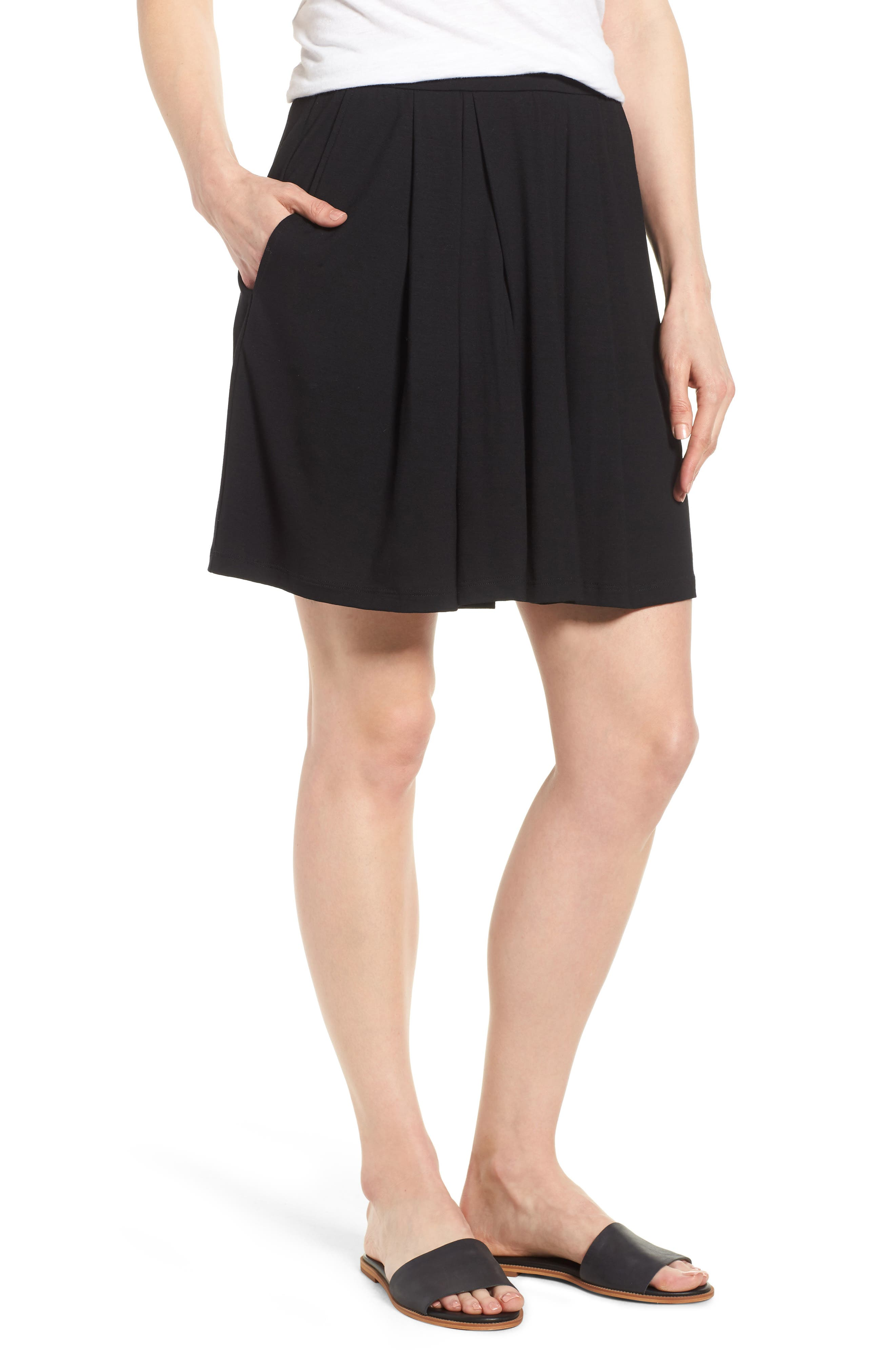 Pleated Jersey Walking Shorts,                         Main,                         color, 001