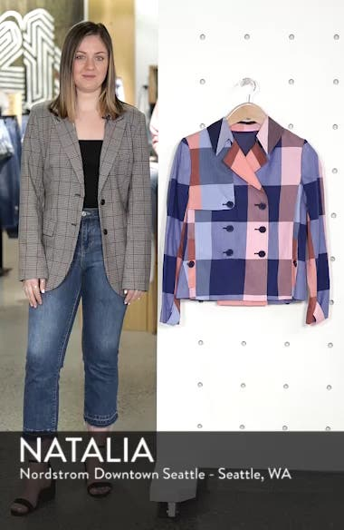Double Breasted Plaid Cotton Blazer, sales video thumbnail