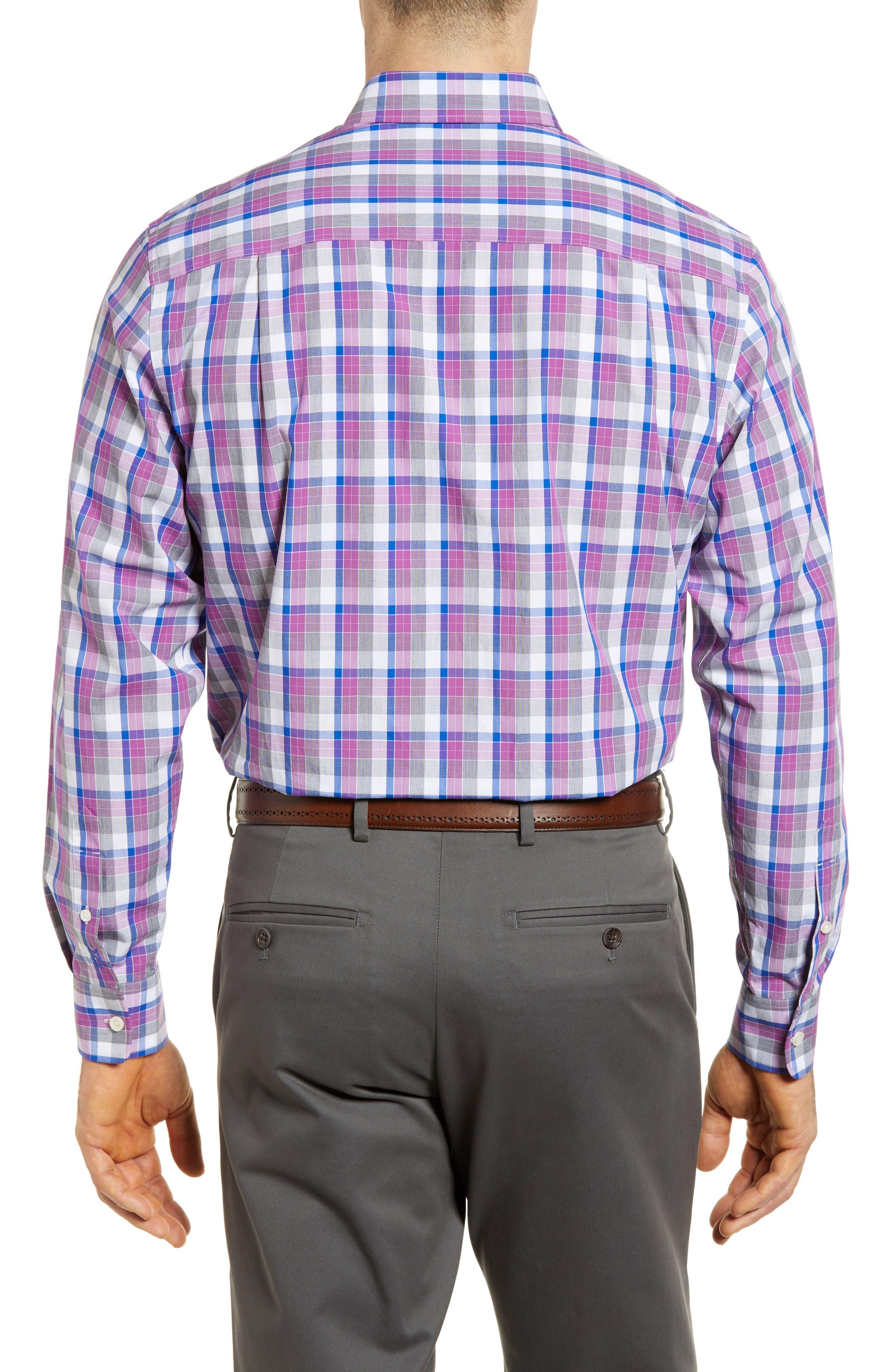 Zachary Non-Iron Plaid Sport Shirt,                             Alternate thumbnail 4, color,