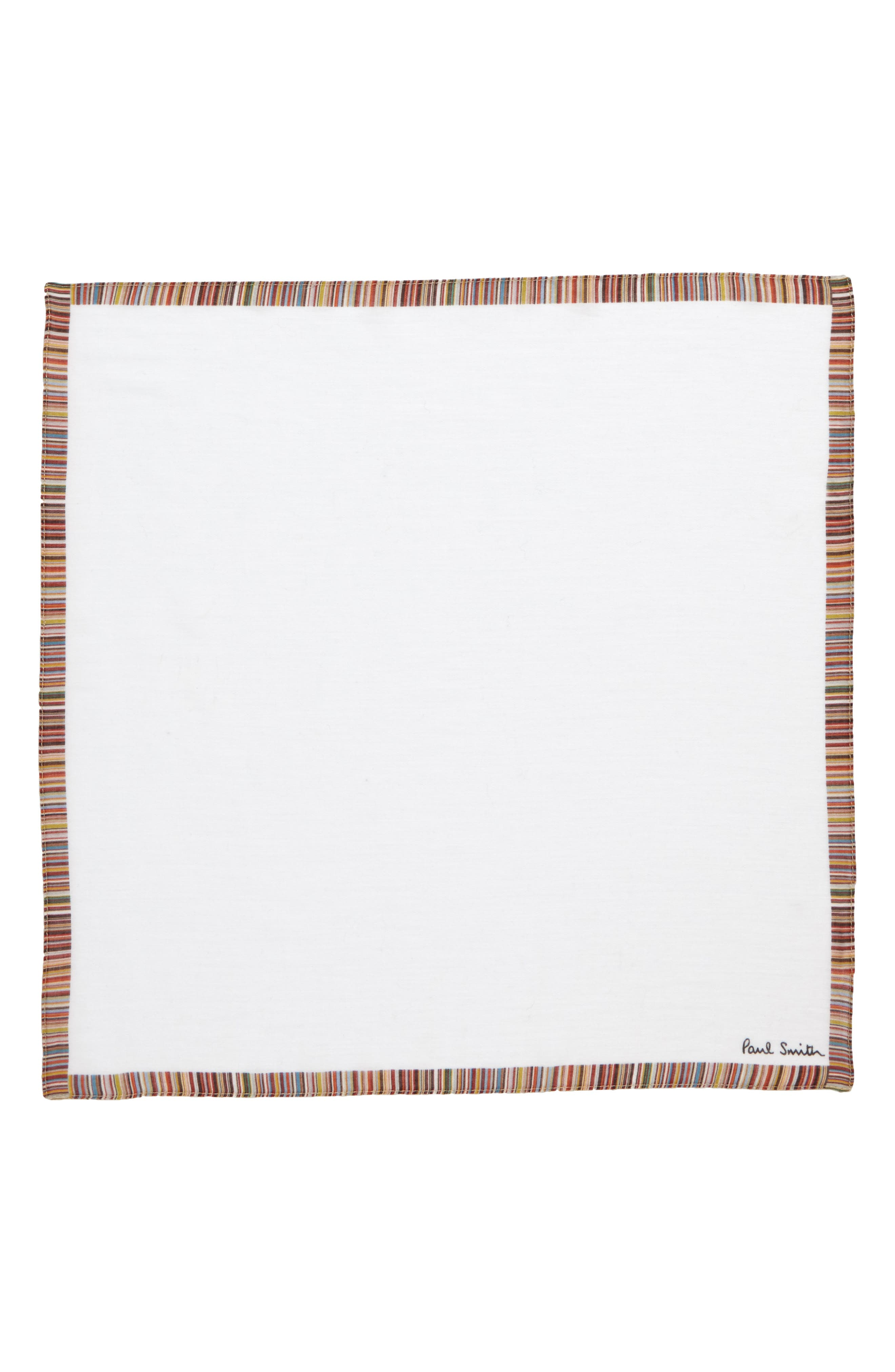 Multistripe Trim Pocket Square,                             Alternate thumbnail 2, color,                             WHITE