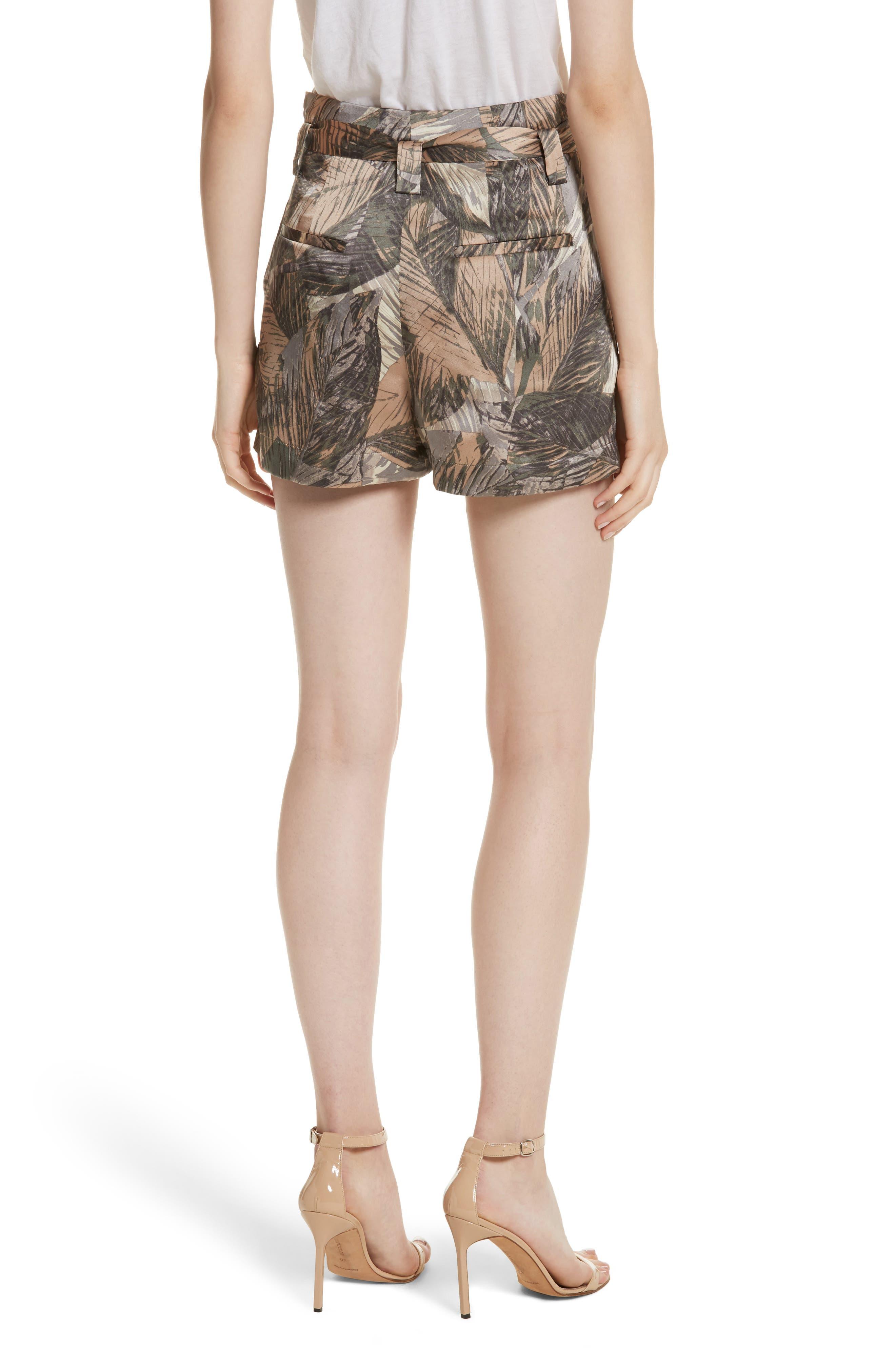 Alex Palm Print Silk Paperbag Shorts,                             Alternate thumbnail 2, color,