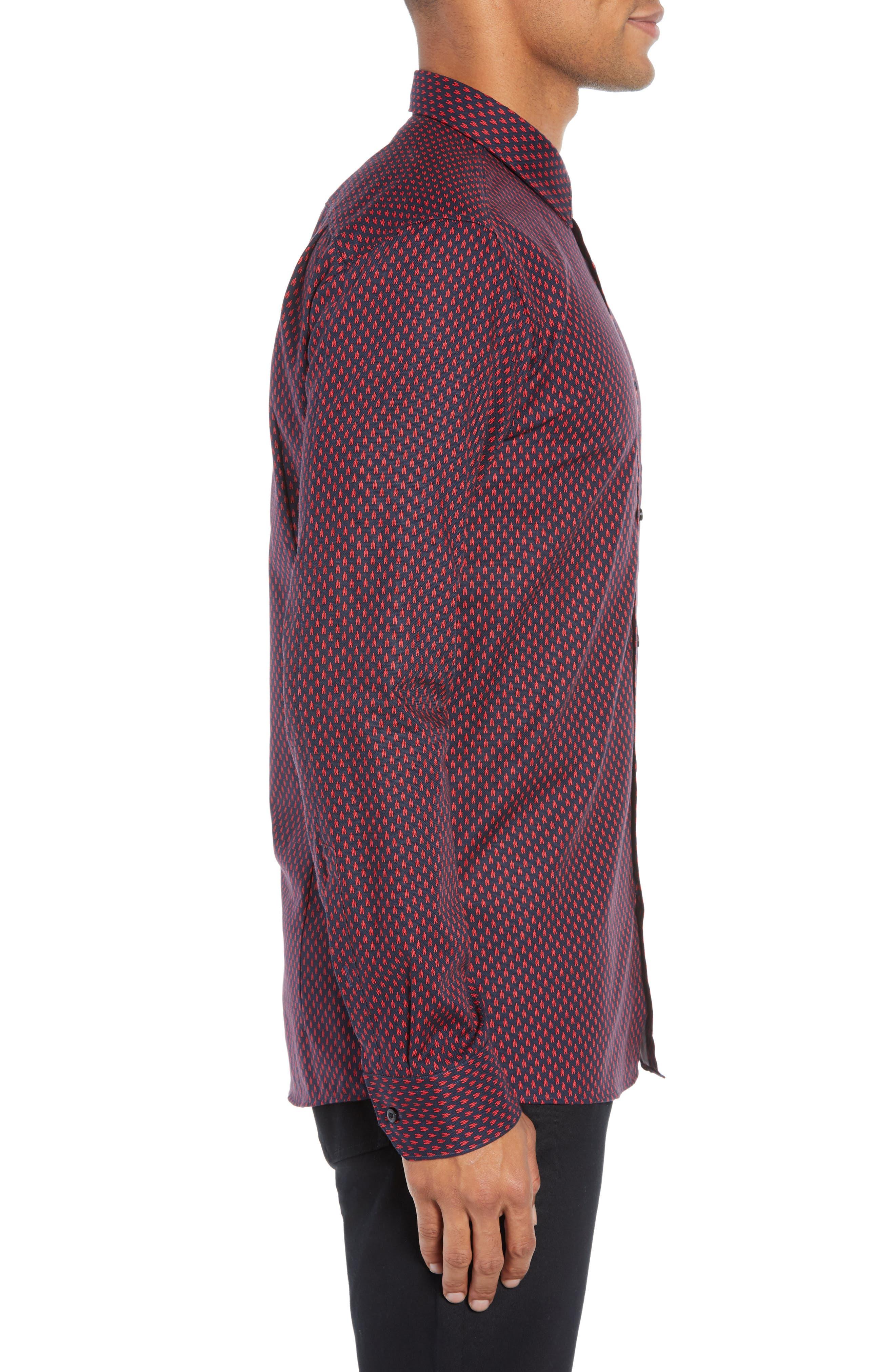 Elisha Extra Slim Fit Microprint Sport Shirt,                             Alternate thumbnail 4, color,                             622