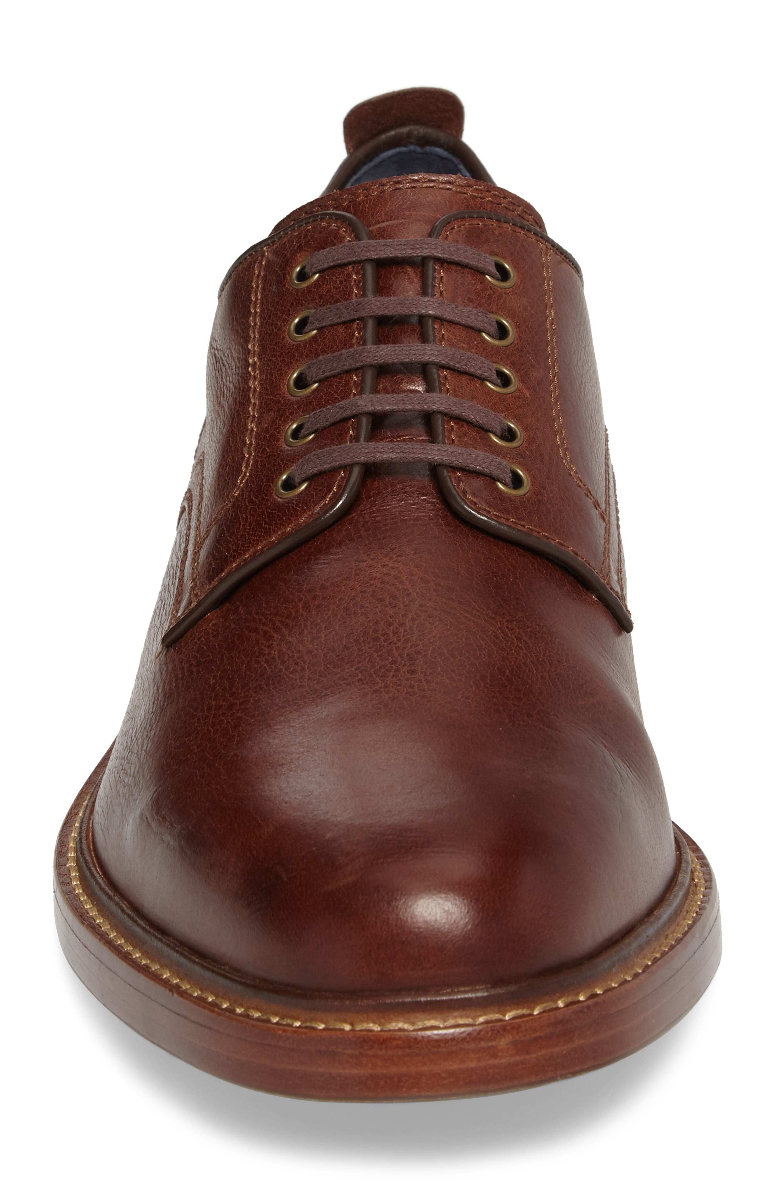 Tyler Grand Plain-Toe Derby,                             Alternate thumbnail 4, color,                             WOODBURY LEATHER