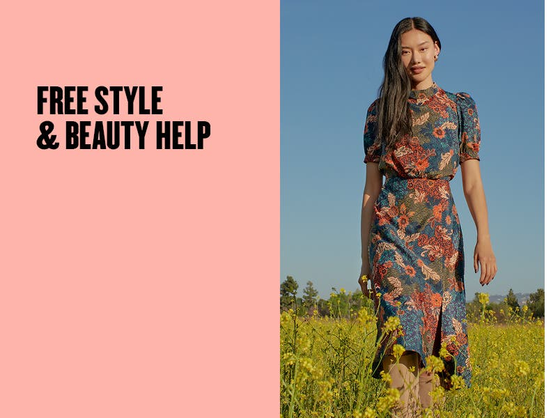 Free style and beauty help. Woman in a floral-print dress.