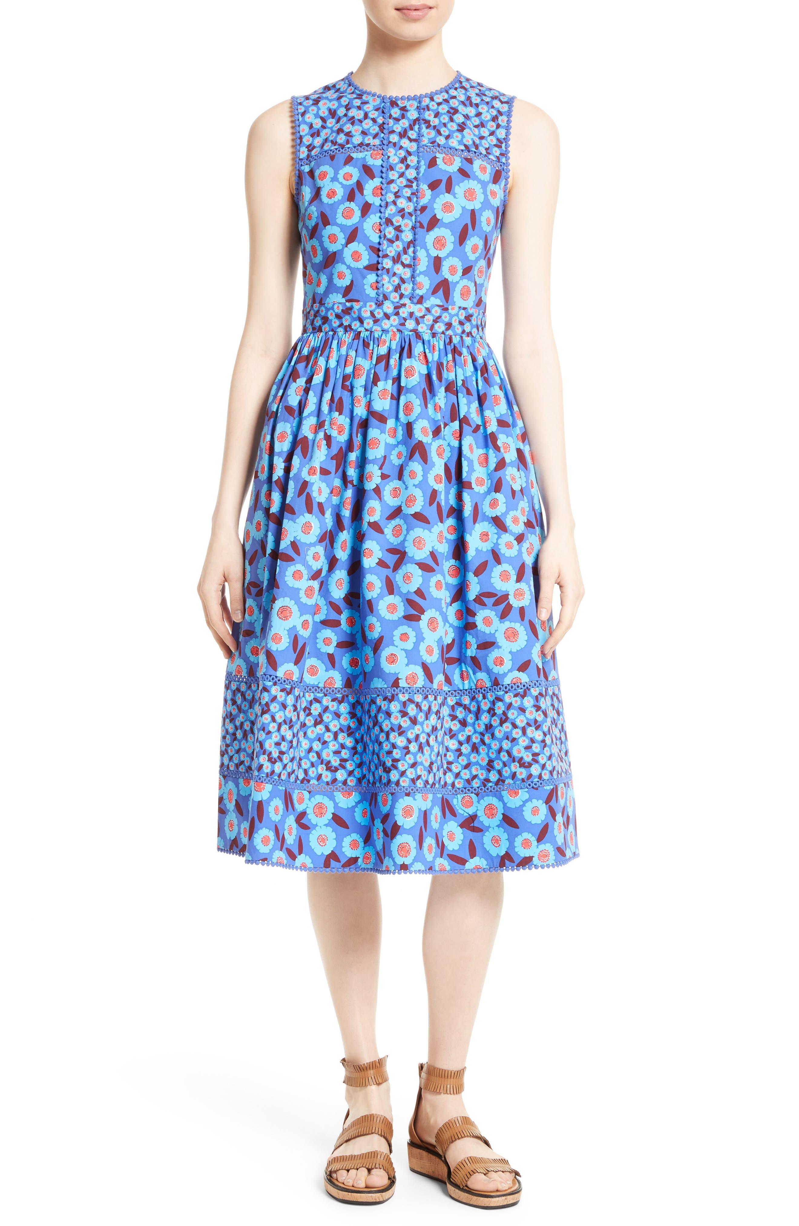 tangier floral midi dress, Main, color, 408