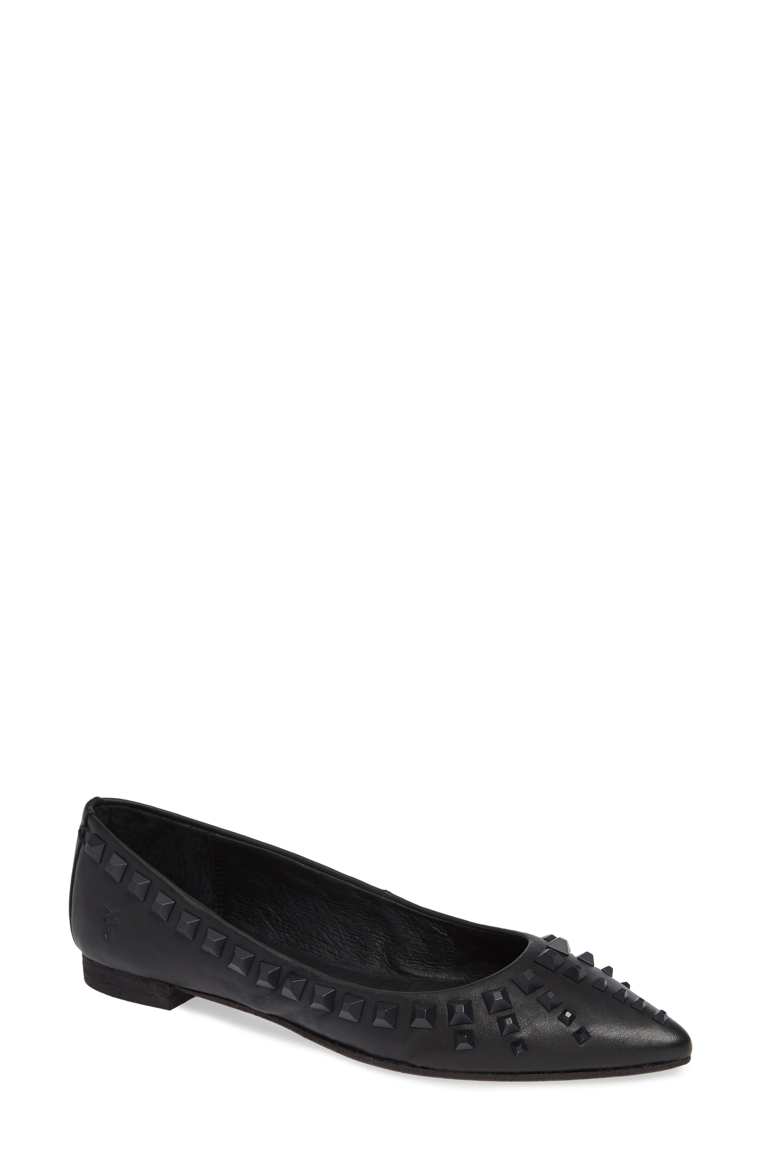 Frye Sienna Deco Stud Ballet Flat- Black