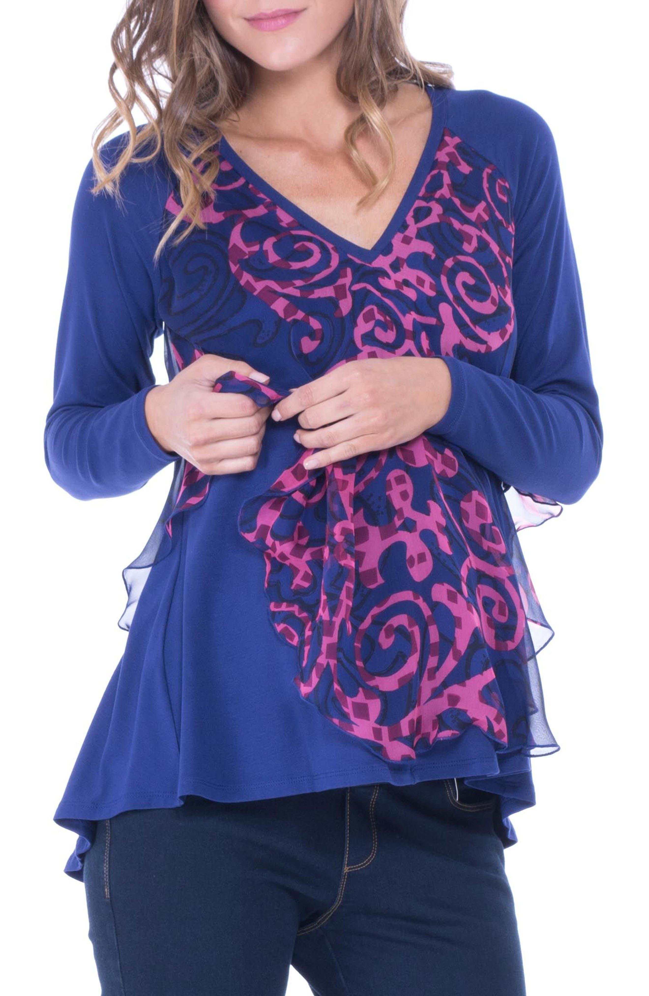 Chiffon Overlay Maternity/Nursing Top,                         Main,                         color, BLUE PRINT