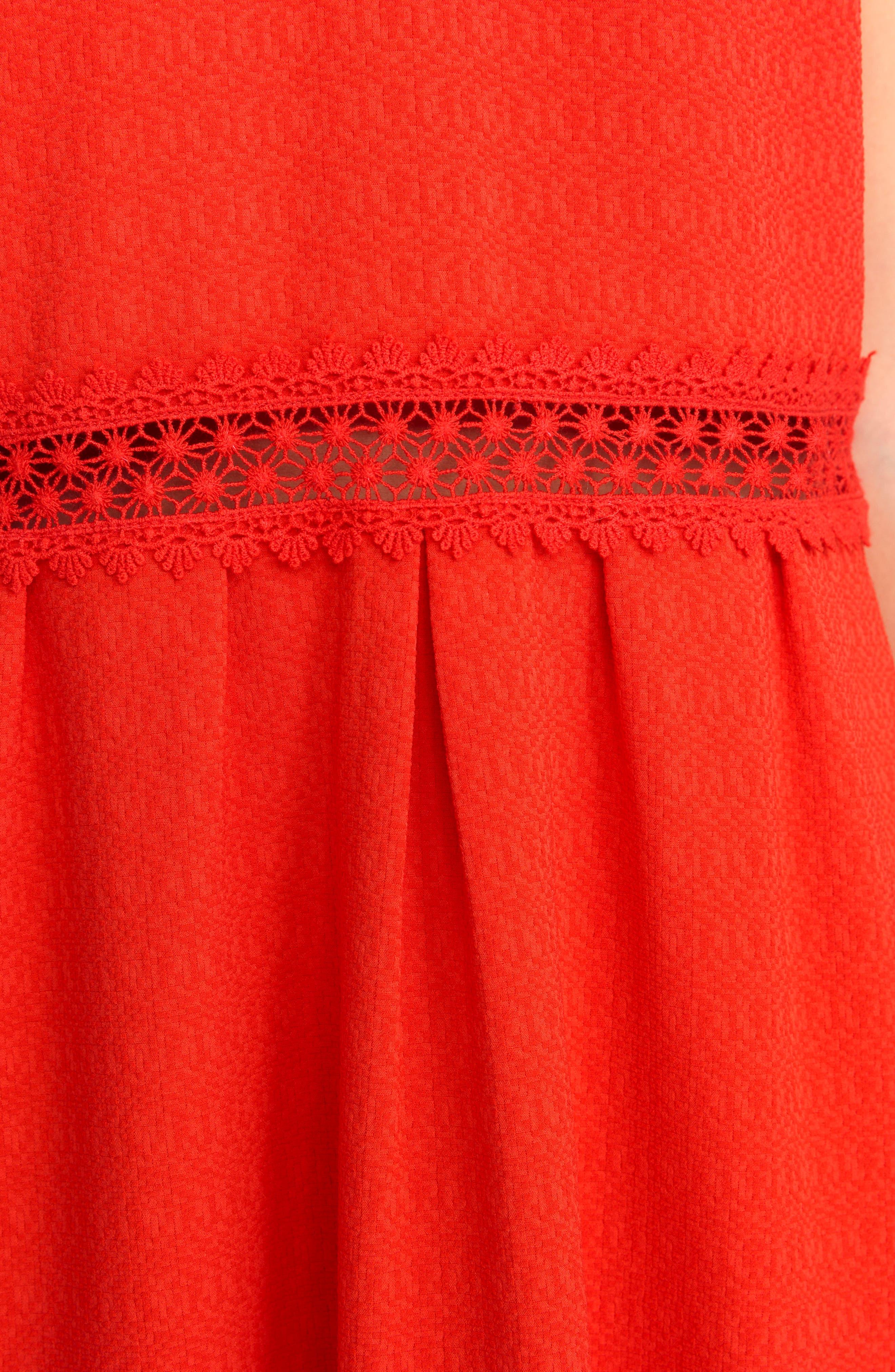 Daniela Lace Trim A-Line Dress,                             Alternate thumbnail 4, color,